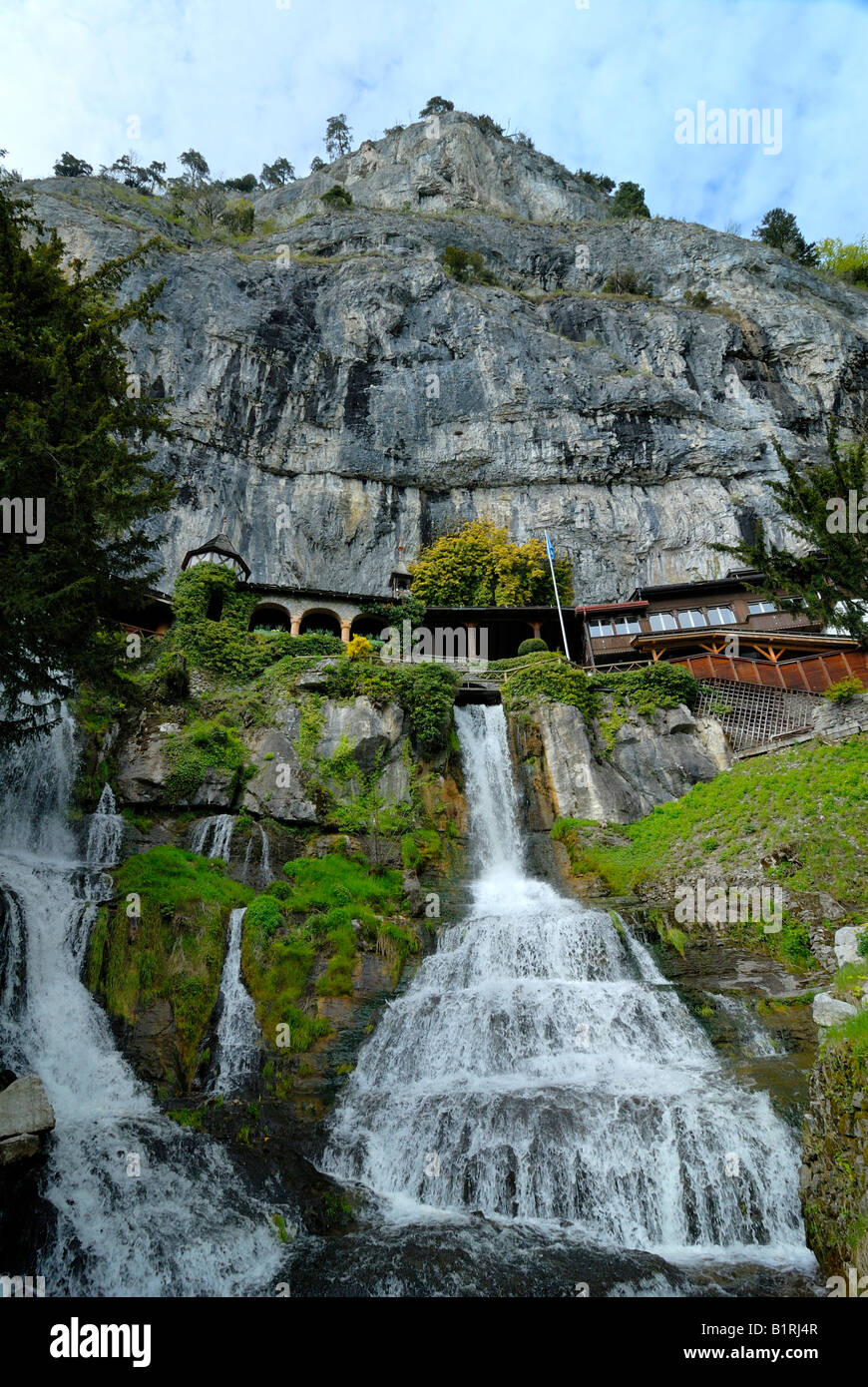 St. Beatus Caves site and waterfalls in Berner Oberland, Canton of Bern, Switzerland, Europe - Stock Image