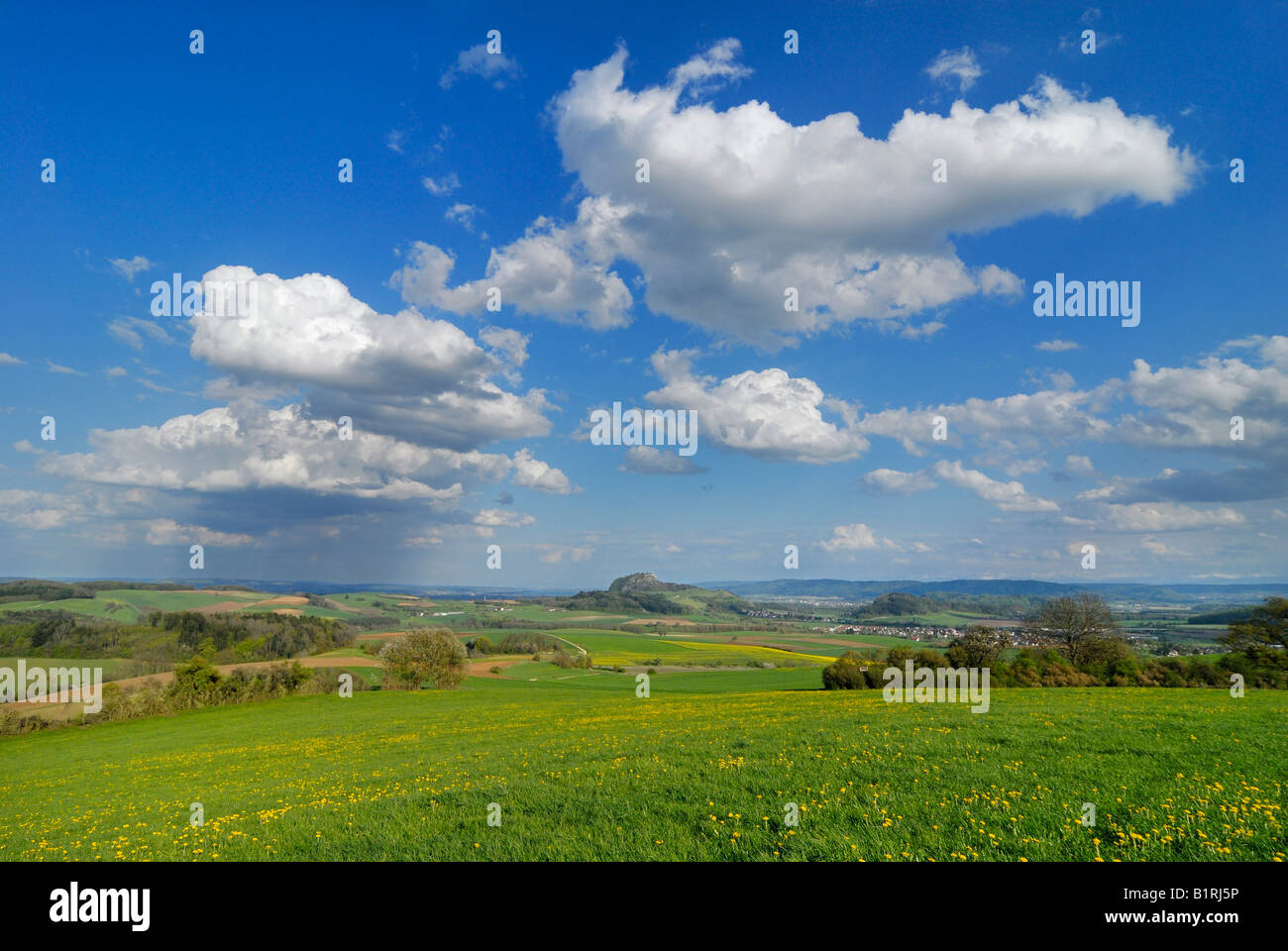 View across the Hegau landscape, Baden-Wuerttemberg, Germany, Europe - Stock Image