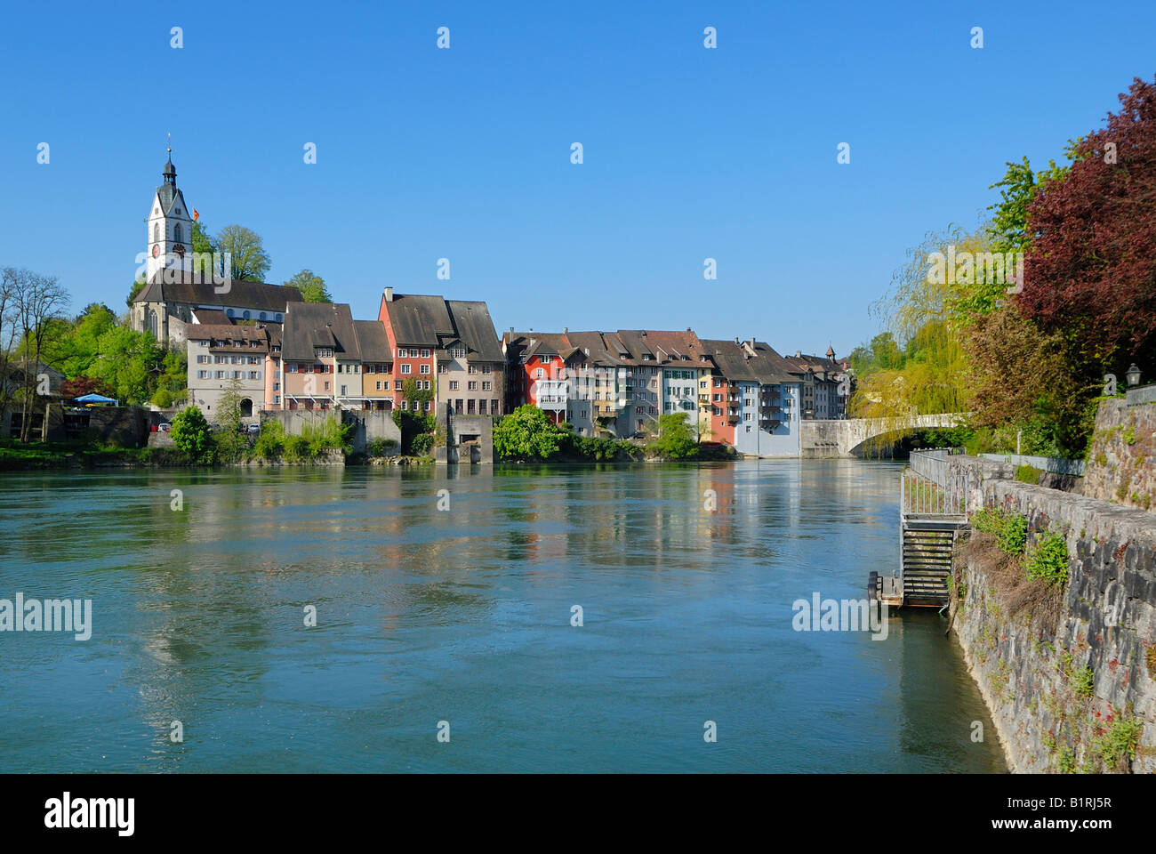 Historic centre of Laufenburg on the Rhine River, Baden-Wuerttemberg, Germany, Europe - Stock Image