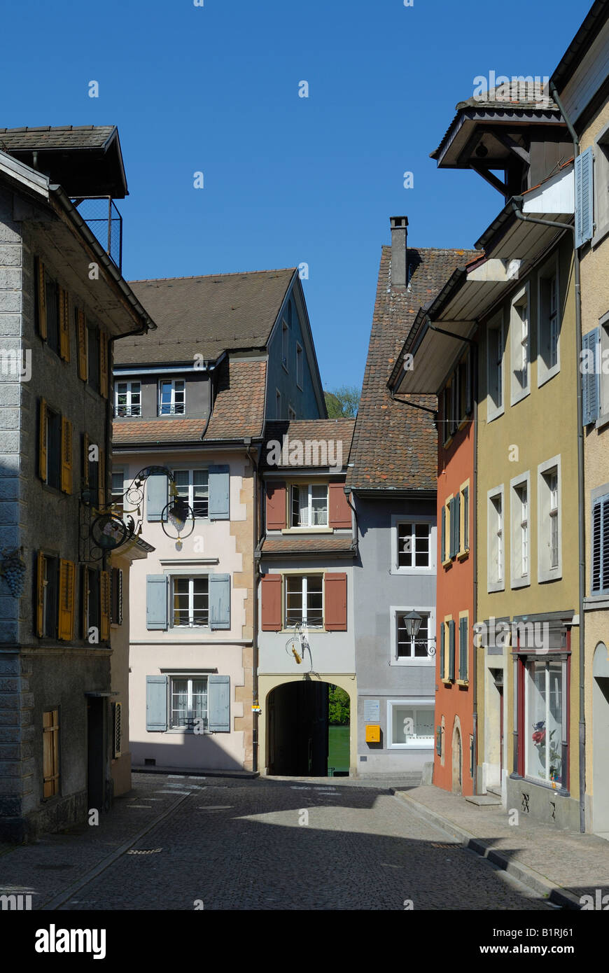 Alley in the historic centre of Laufenburg, Canton of Aargau, Switzerland, Europe - Stock Image