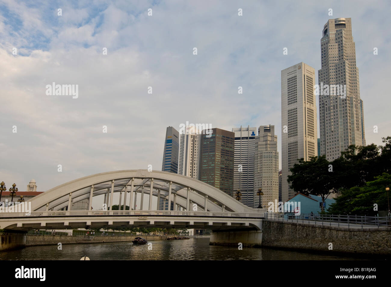 Financial District and Anderson Bridge on the Marina Bay, Singapore River, Singapore, Southeast Asia - Stock Image