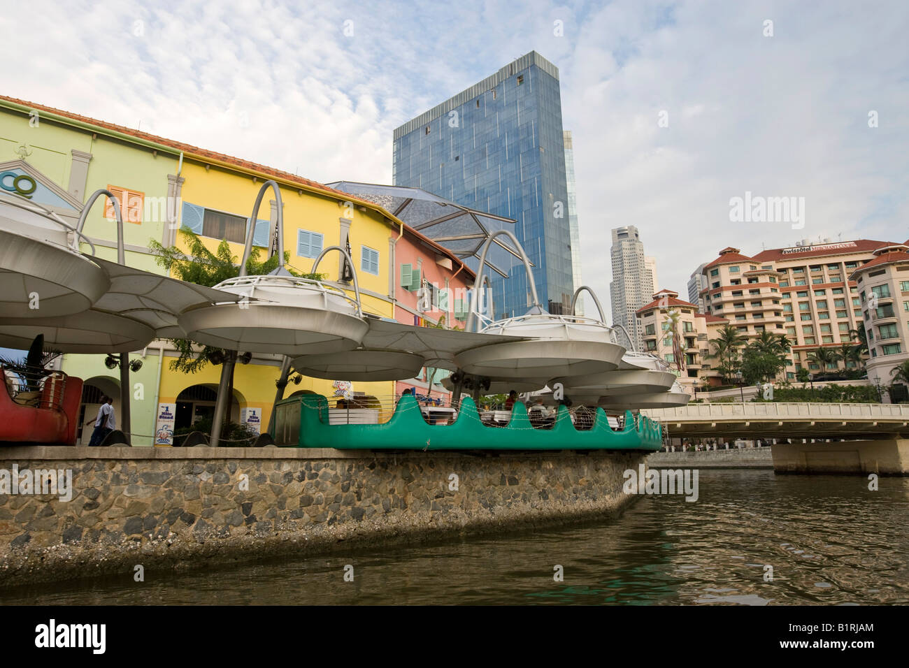 Restaurants in the location of former warehouses of the 19th century, area named after Andrew Clarke, Singapore - Stock Image