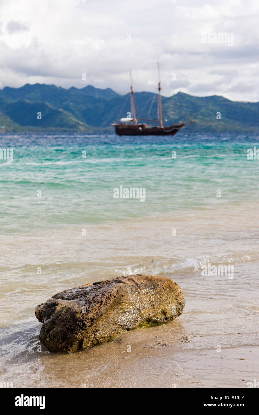 Old log lying on the beach, anchored sailing boat, Trawangan Island, Lesser Sunda Islands, Indonesia, Asia - Stock Image