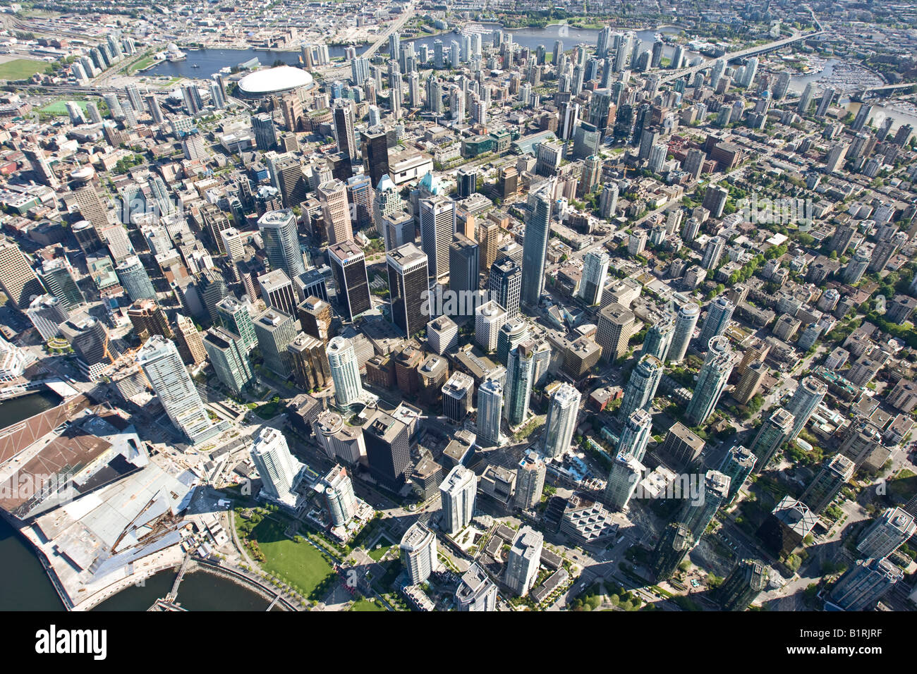 Sky scrapers in Coral Harbour, Vancouver, British Columbia, Canada, North America - Stock Image