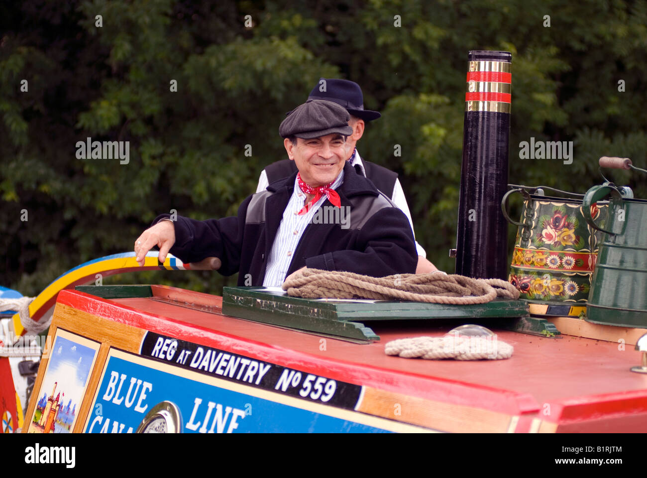 David Suchet OBE officially opening the 2008 Braunston Historic Narrowboat Rally from the traditional butty Raymond Stock Photo