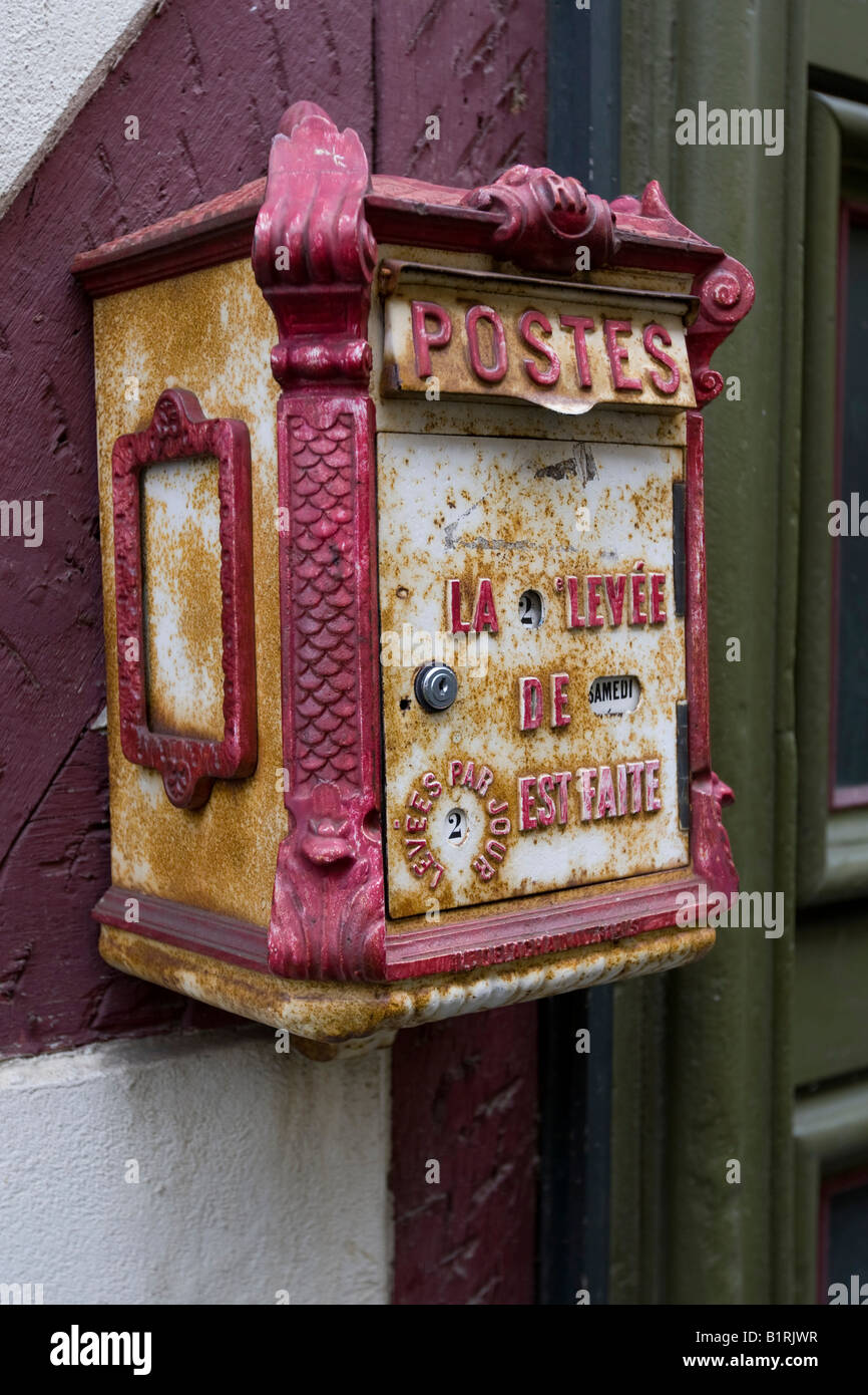 Old coloured letter box Stock Photo