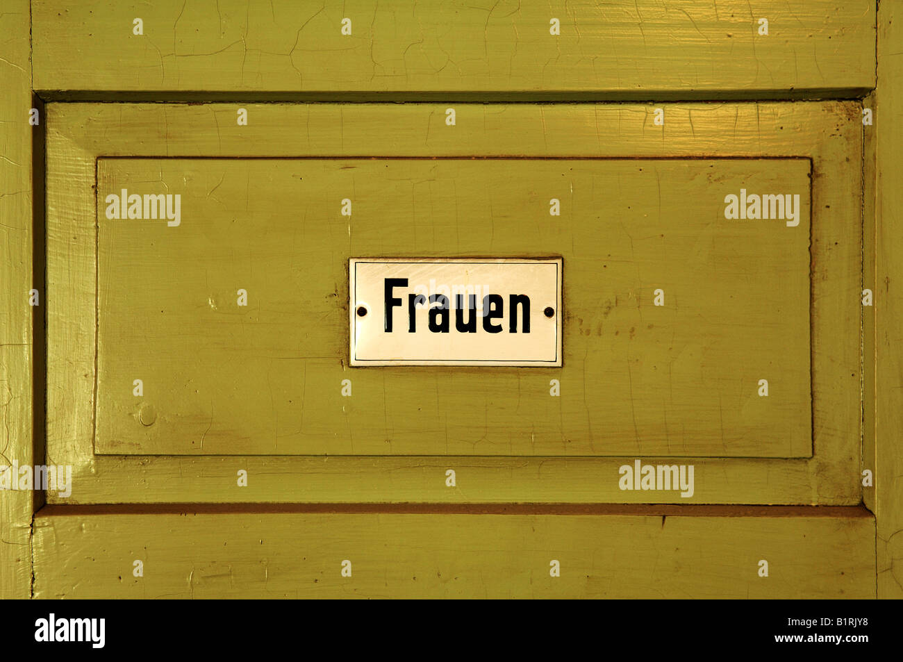 Toilet door sign, Frauen, women, from 1950, Industry Museum, Lauf an der Pegnitz, Middle Franconia, Bavaria, Germany, - Stock Image