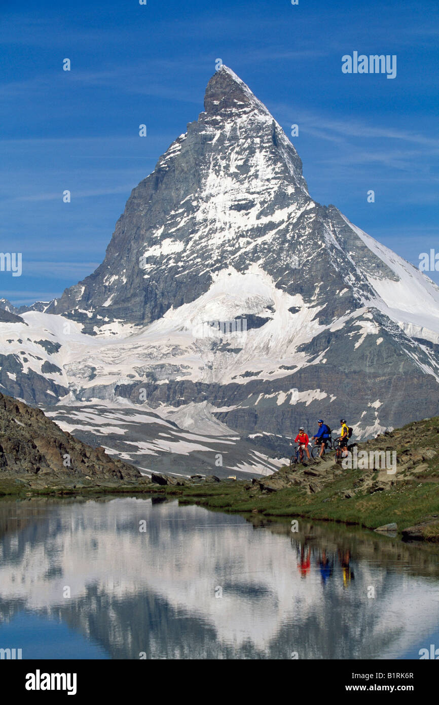 Riffel lake, Matterhorn, Zermatt, Wallis, Switzerland - Stock Image