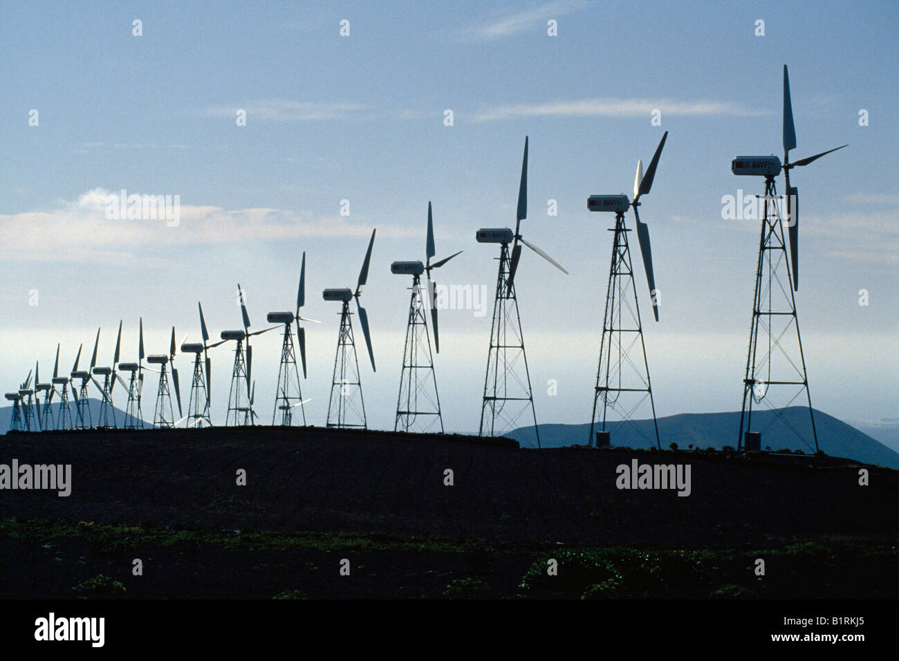 Wind wheels, Lanzarote, Canary Islands, Spain - Stock Image