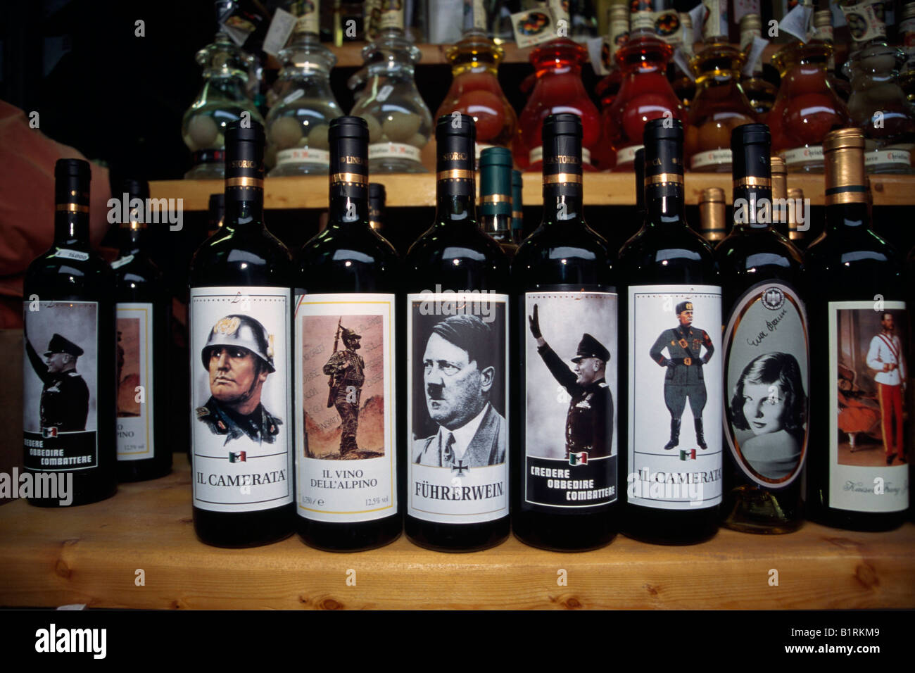 Wine bottles with Nazi labels, Osteria, Lake Garda, Italy - Stock Image