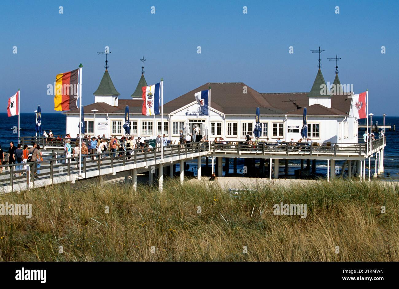 Pier, Ahlbeck, Usedom, Baltic Sea, Mecklenburg-Vorpommern, Germany Stock Photo