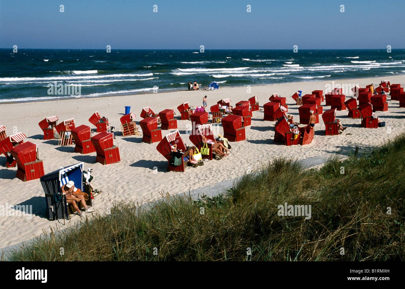 Beach Chairs, Zinnowitz, Usedom, Baltic Coast, Mecklenburg-Western Pomerania, Germany - Stock Image