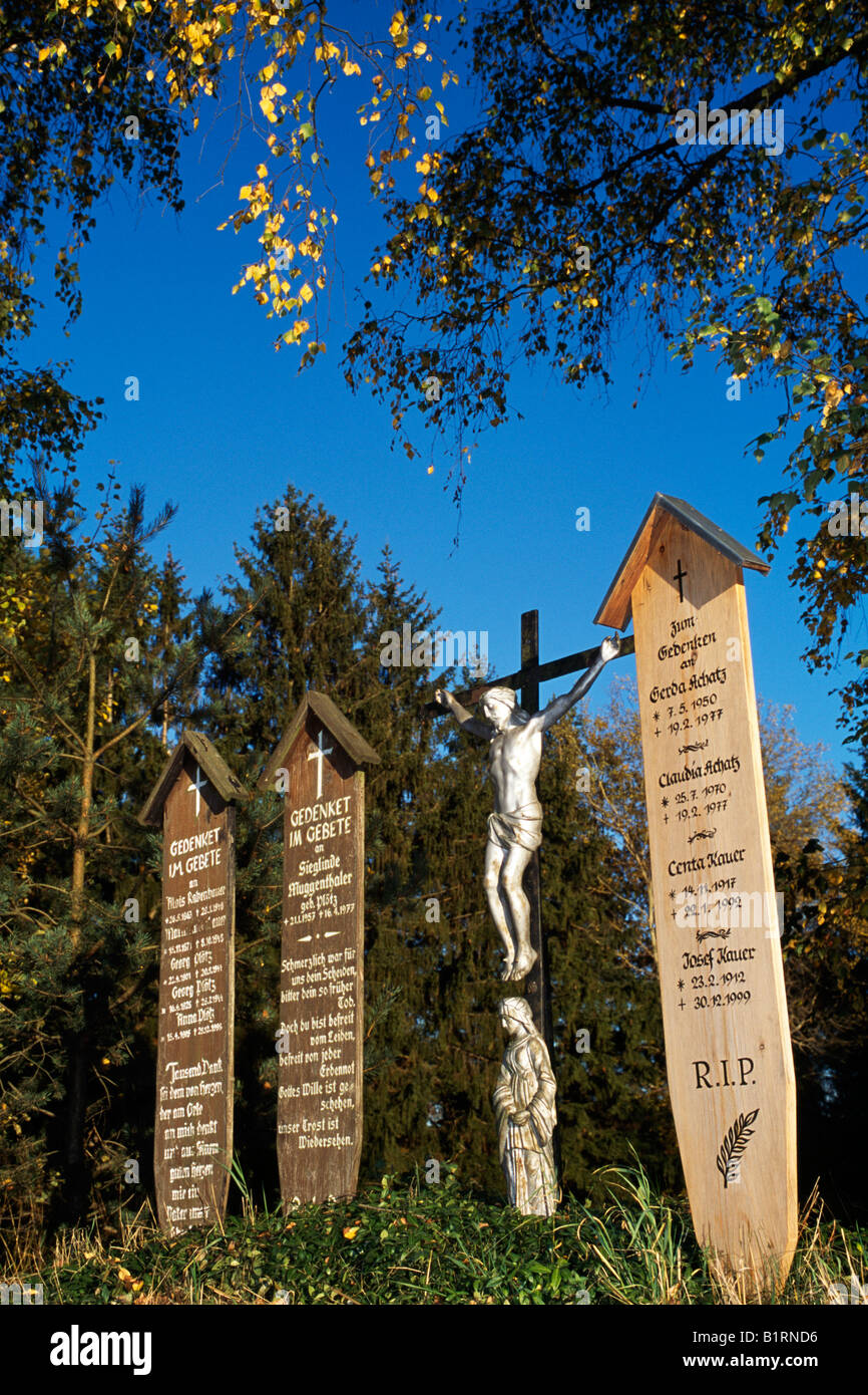 Memorial tablets, Bavarian Forest, Bavaria, Germany Stock Photo