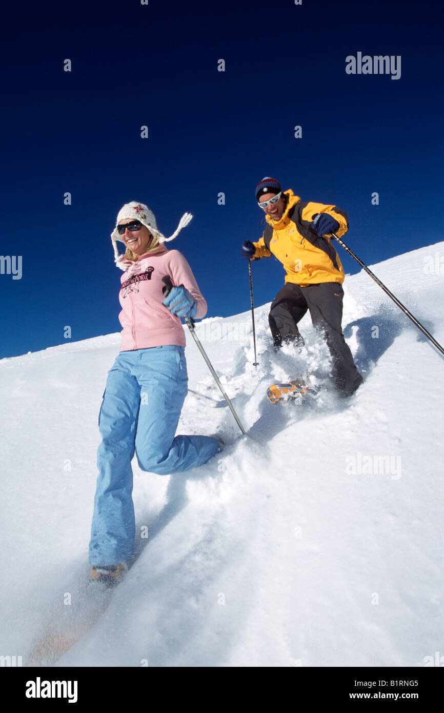 People on snowshoes, Arosa, Graubuenden, Switzerland Stock Photo