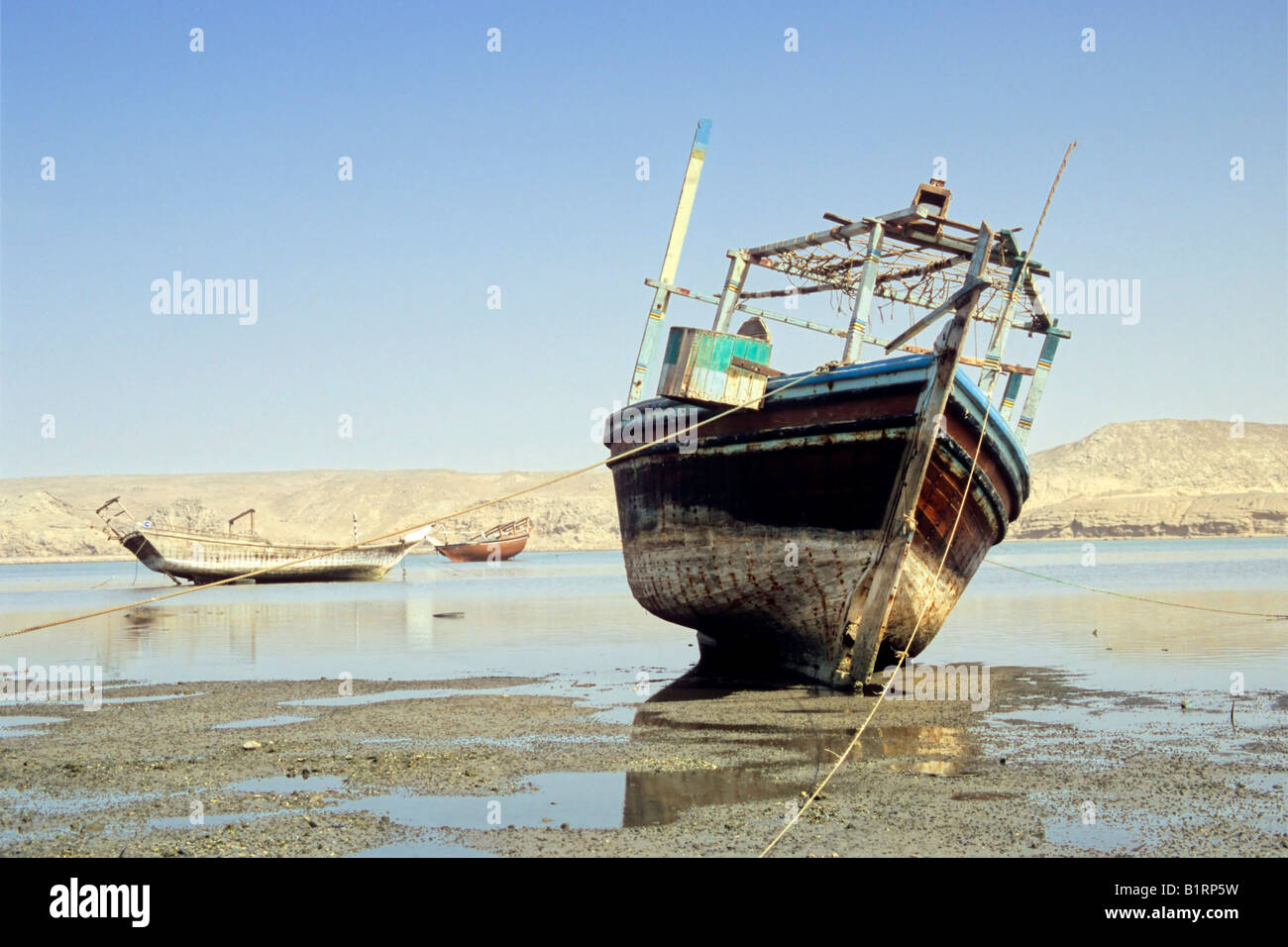 Ship cemetery at Sur, Oman, Arabian Peninsula, Middle East - Stock Image