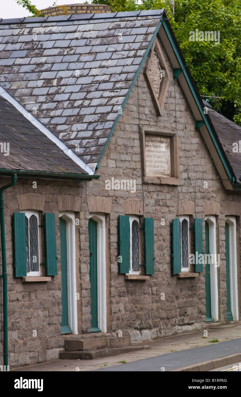Harley Alms Houses built in 1832 for indigent ladies in Hay on Wye Powys Wales UK EU - Stock Image