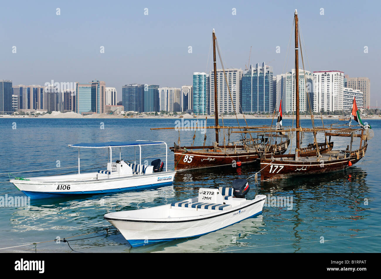 Skyline of the Abu Dhabi City, Emirat Abu Dhabi, United Arab Emirates, Asia Stock Photo