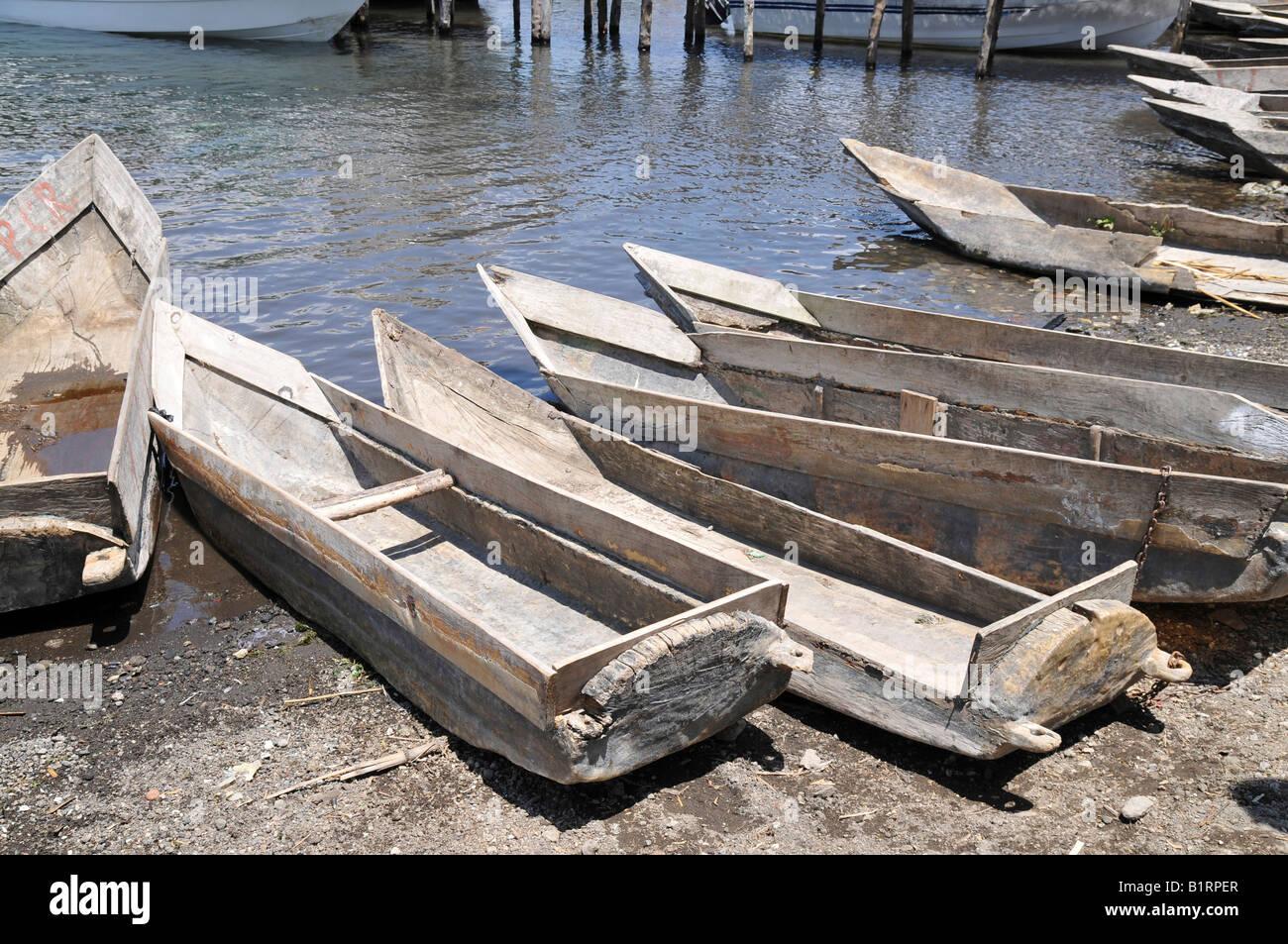 Rowboats, Santiago Atitlan, Lake Atitlan, Guatemala, Central America - Stock Image