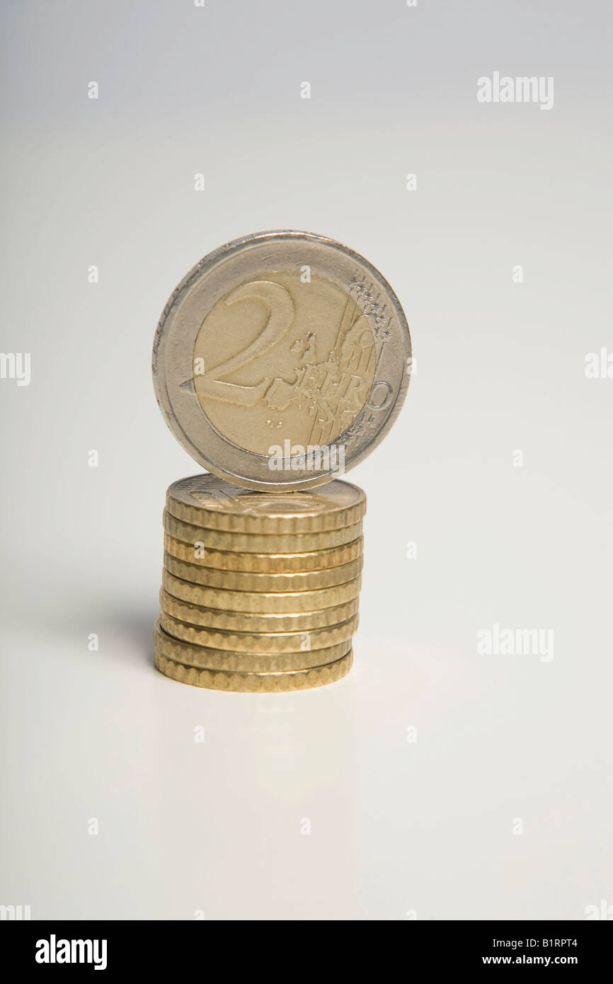 Stacked Euro coins - Stock Image