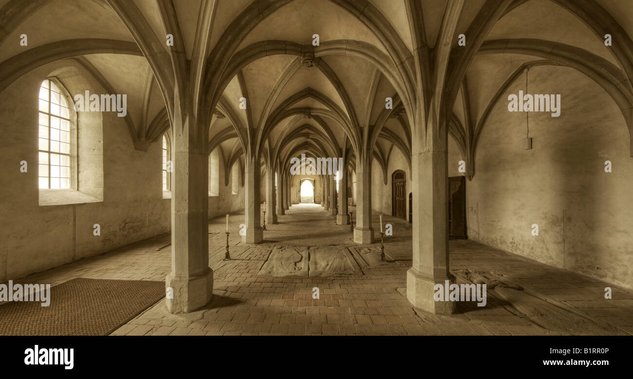 Crypt in the former monastic church of John the Baptist in Mariaburghausen near Hassfurt, Lower Franconia, Bavaria, - Stock Image