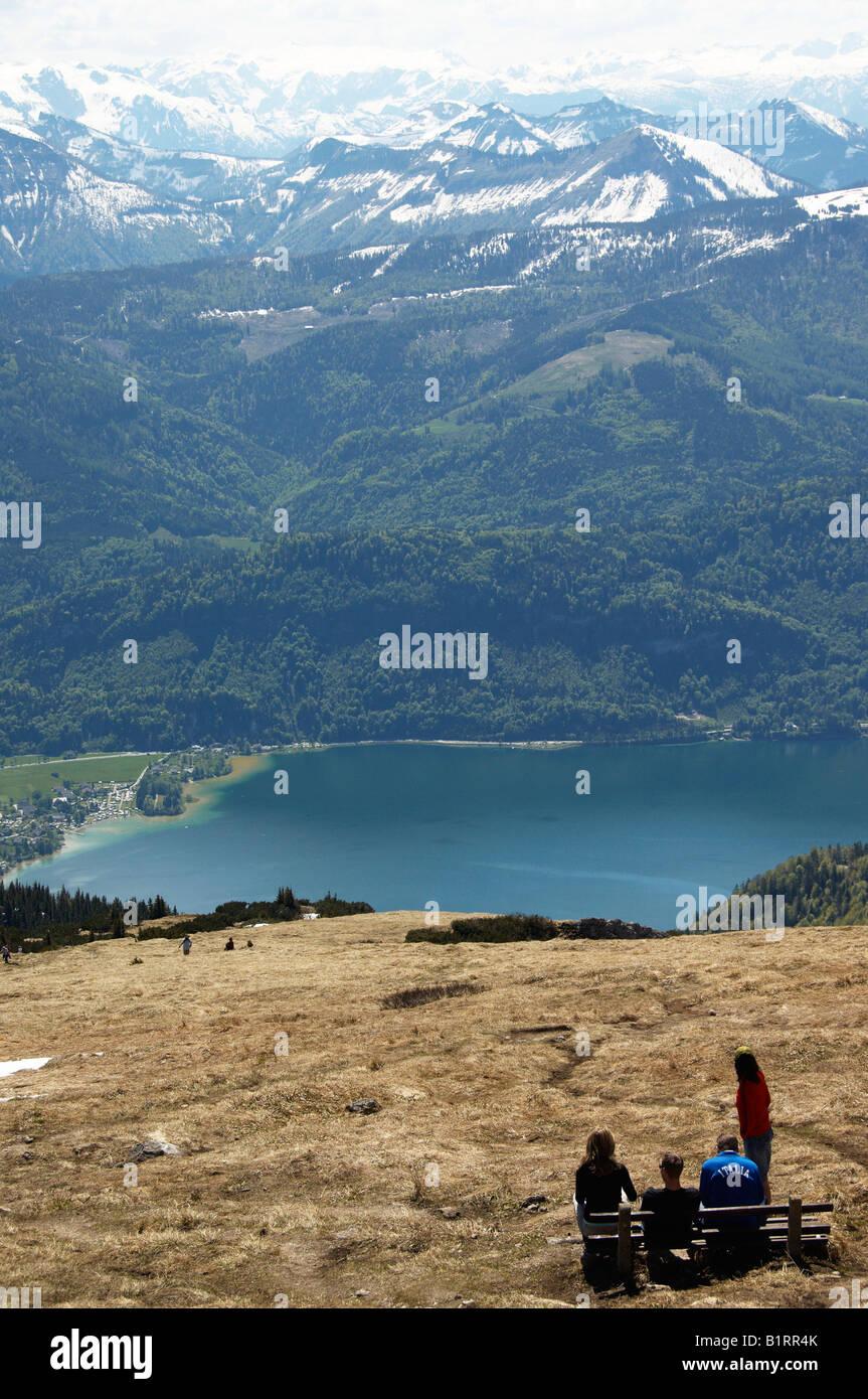 View of Wolfgangsee Lake and its mountain region, Salzburg, Austria, Europe - Stock Image