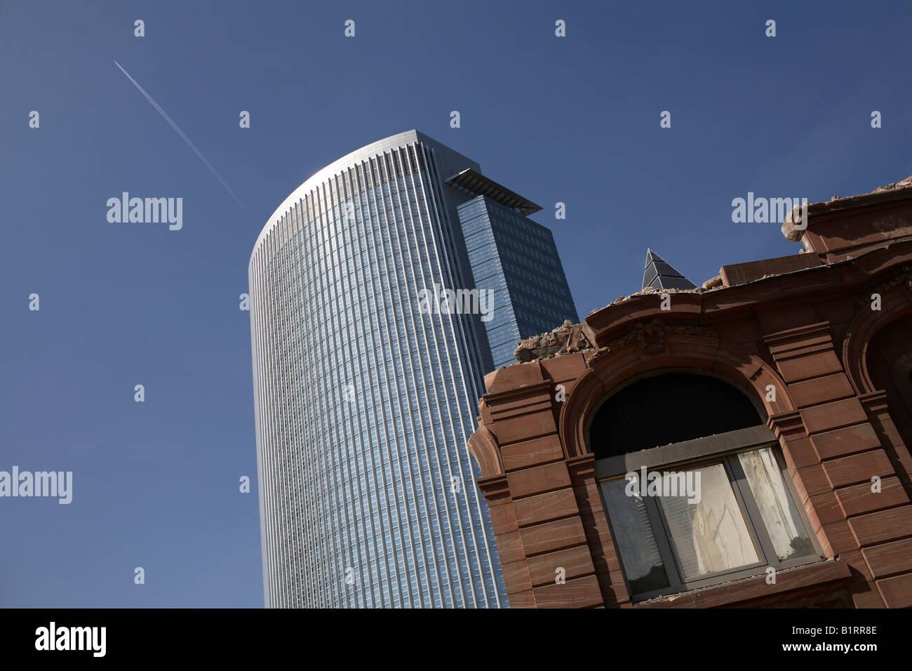 Skyscraper with semi-demolished house, Frankfurt, Hesse, Germany, Europe - Stock Image