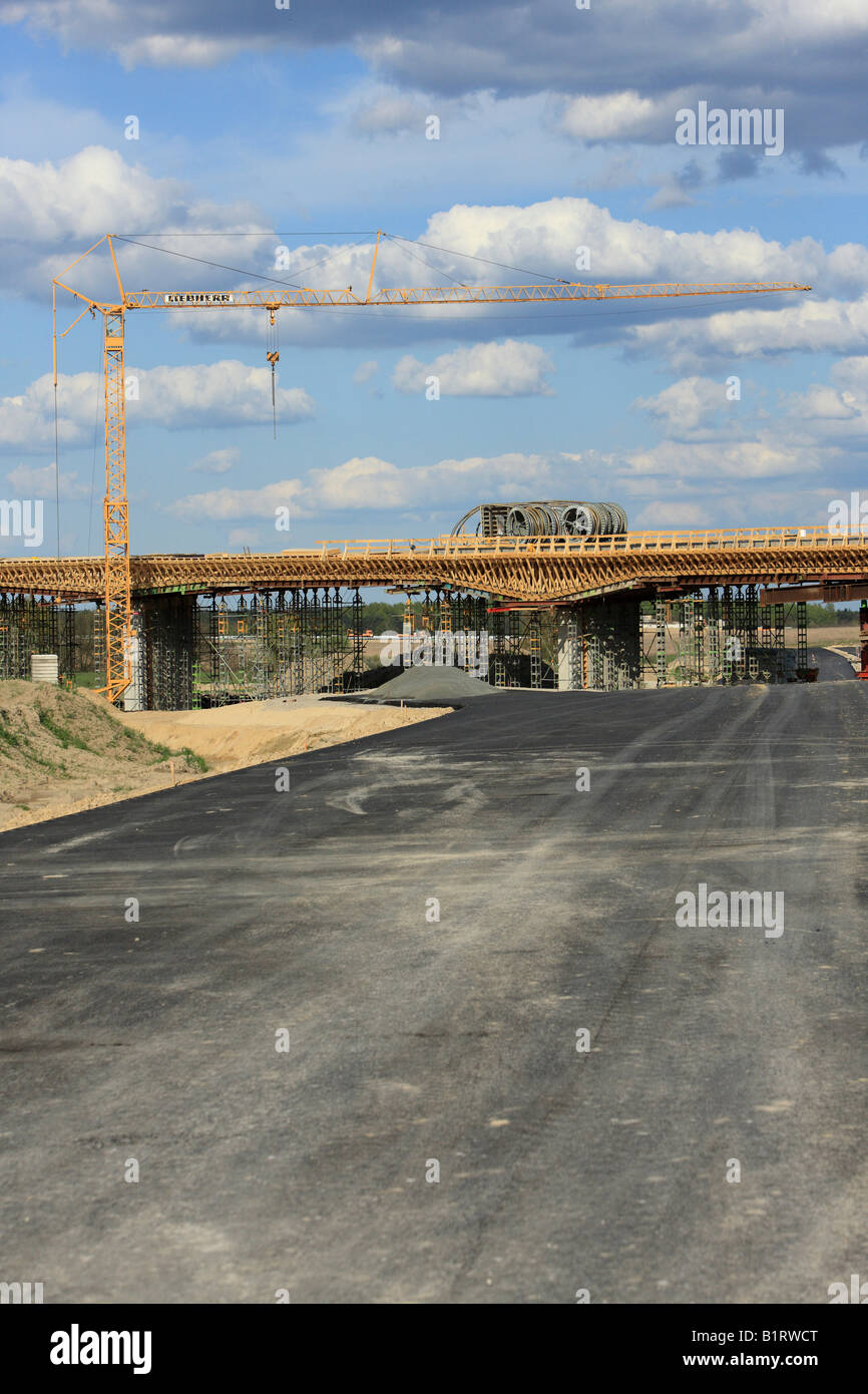 Bridge and motorway building site, BBI, Berlin-Brandenburg International Airport Berlin, Germany, Europe Stock Photo