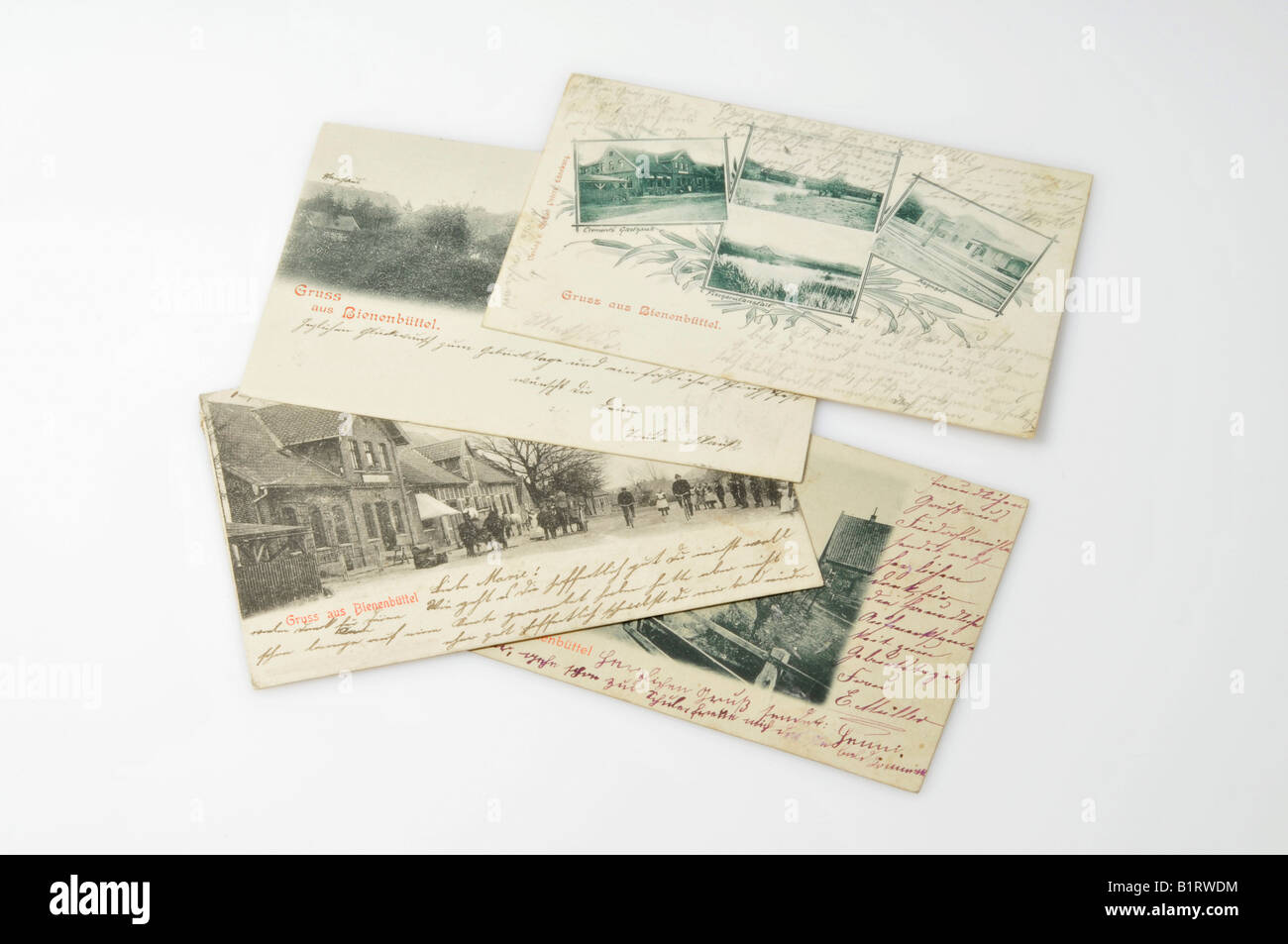 Old handwritten picture postcards dating to around 1900 from Bienenbuettel, Lower Saxony, Germany, Europe - Stock Image