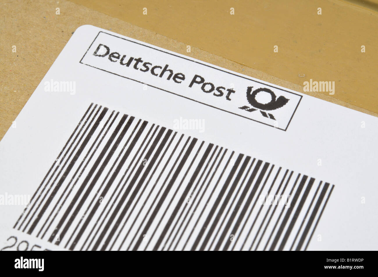 Parcel barcode sticker of the Deutsche Post, German postal service Stock Photo