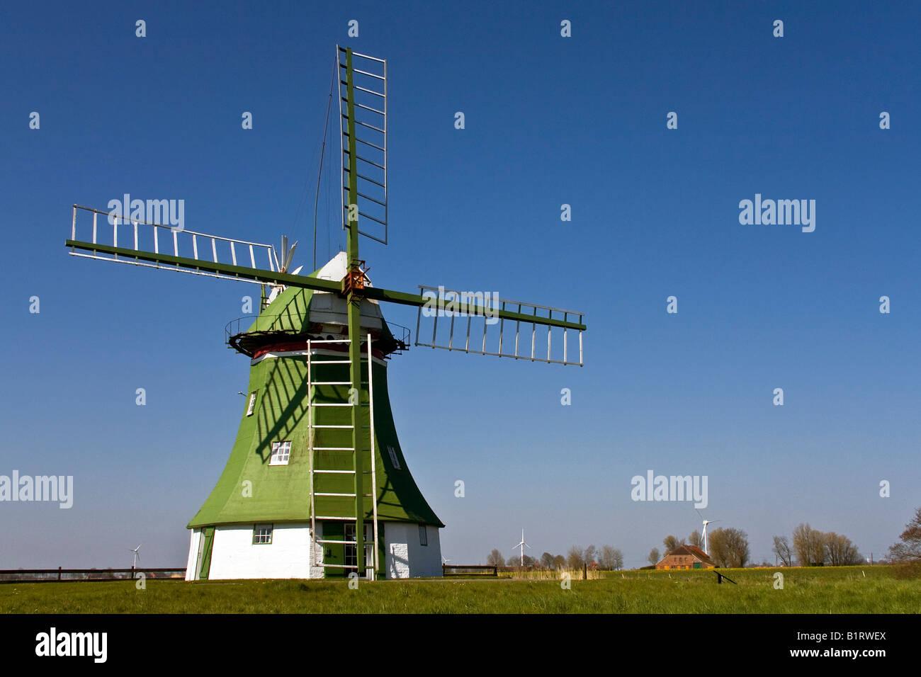 The Erdhollaender, an historic Dutch windmill near Wittmund, East Friesland, Lower Saxony, Germany, Europe Stock Photo