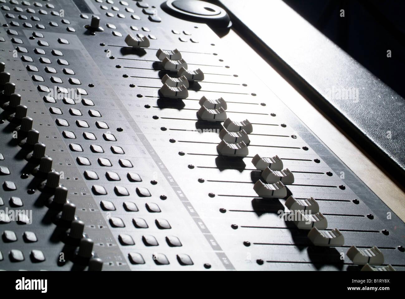 Control keys, professional mixing console, mixing desk, soundboard - Stock Image