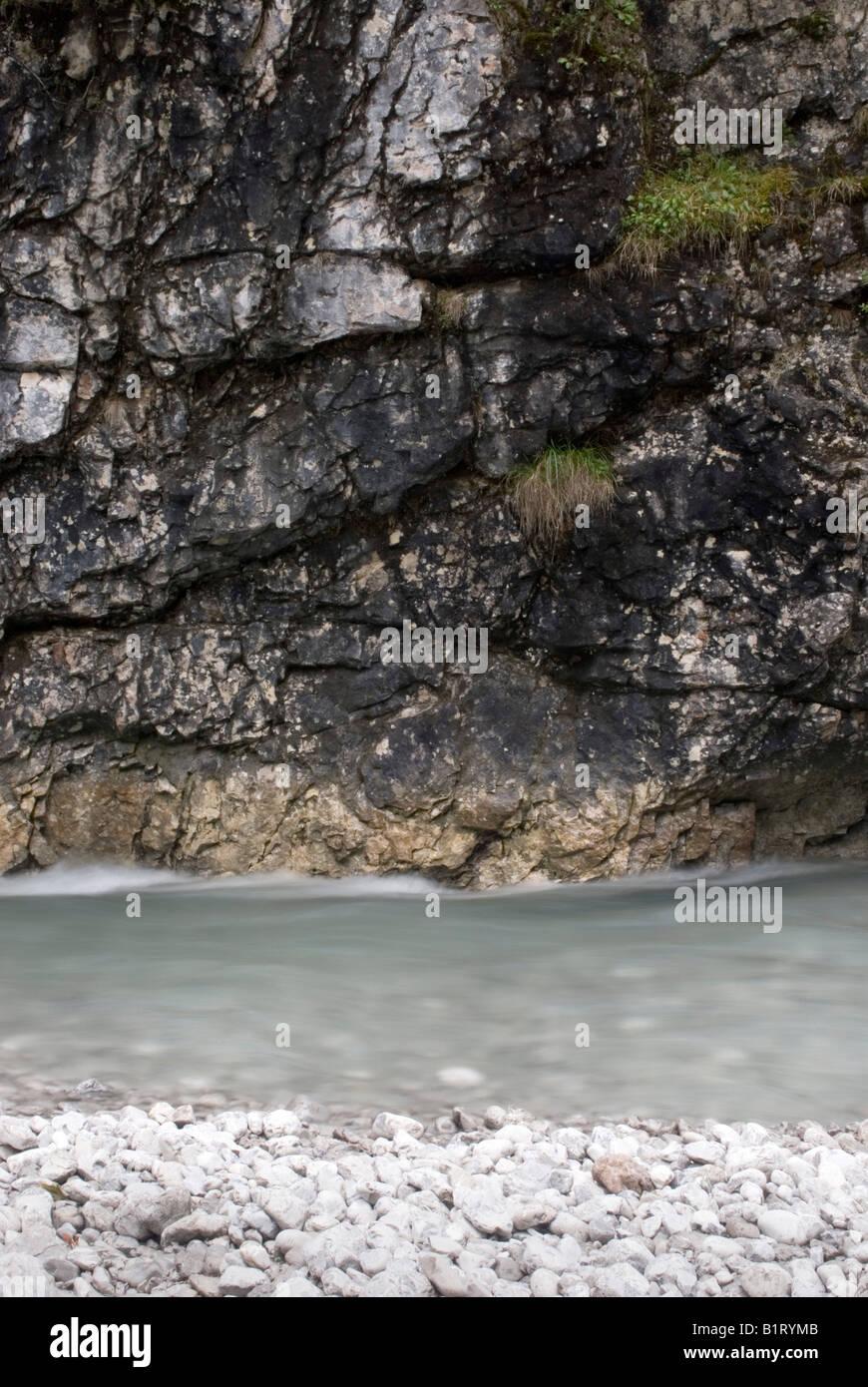 Schwarzwassertal Gorge, near confluence with the Lech River, Lechtal, Tyrol, Austria, Europe - Stock Image