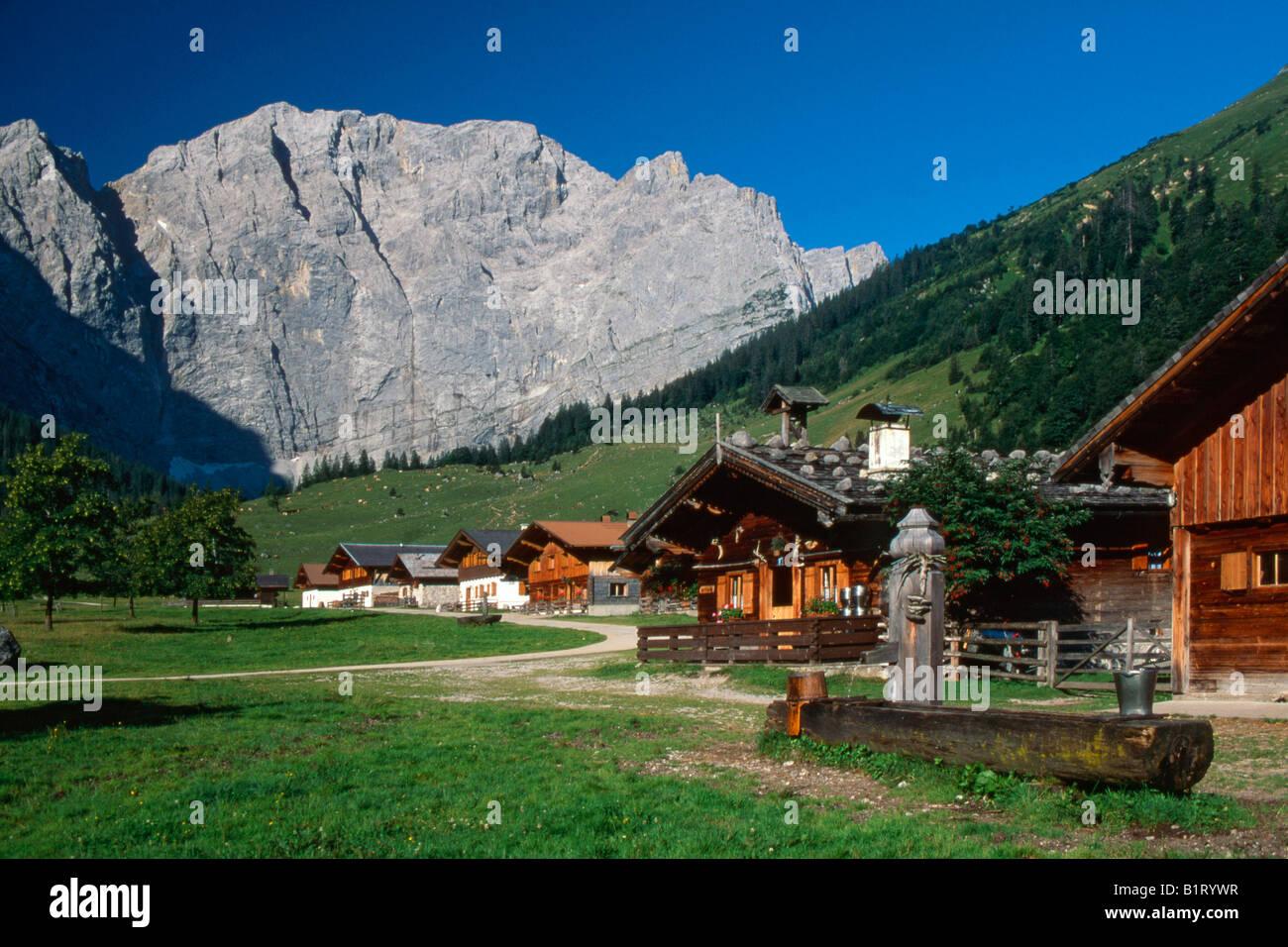 Eng-Alm alpine pasture, Karwendel Range, Schwaz, Tyrol, Austria, Europe - Stock Image