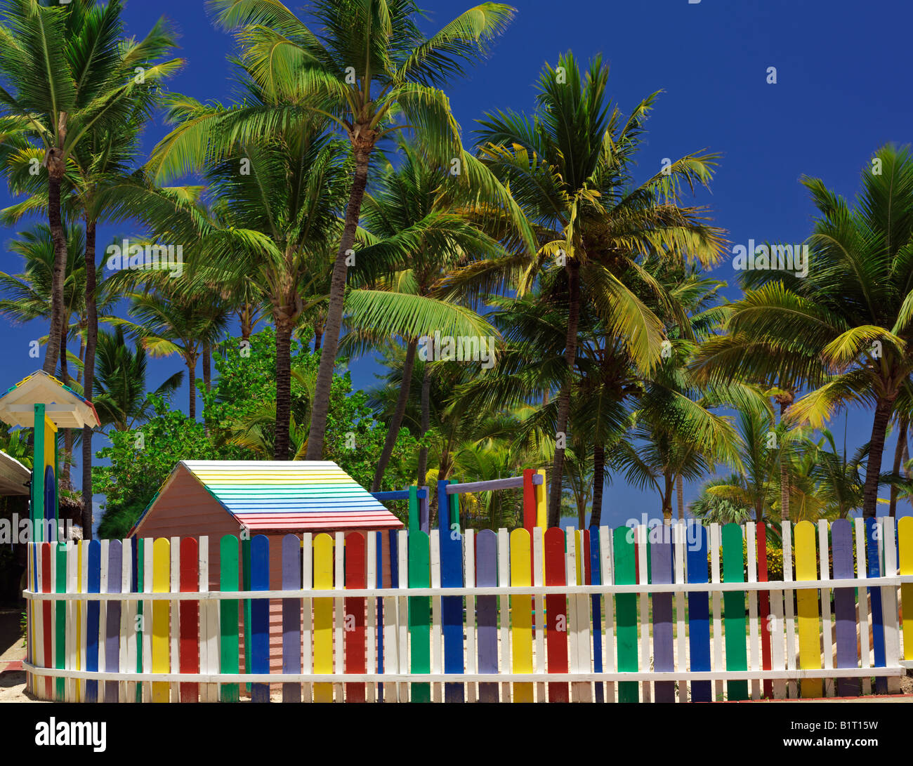 Dominican Republic Punta Cana Bavaro Beach multi colored picket ...