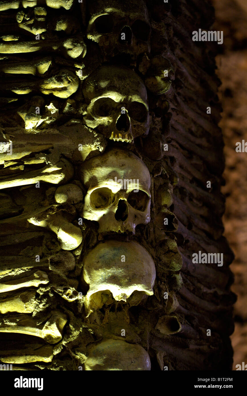 Walls decorated with human remains in the Chapel of Bones, Church of St Francis, Evora, Alentejo, Portugal, Europe Stock Photo