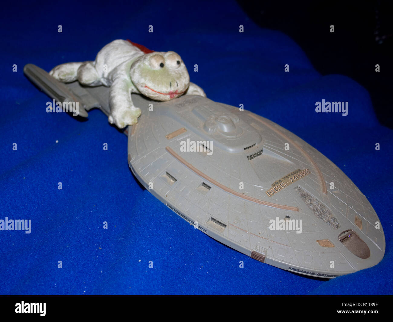 Ms Smiley Frog likes to travel by spaceship whenever possible. - Stock Image