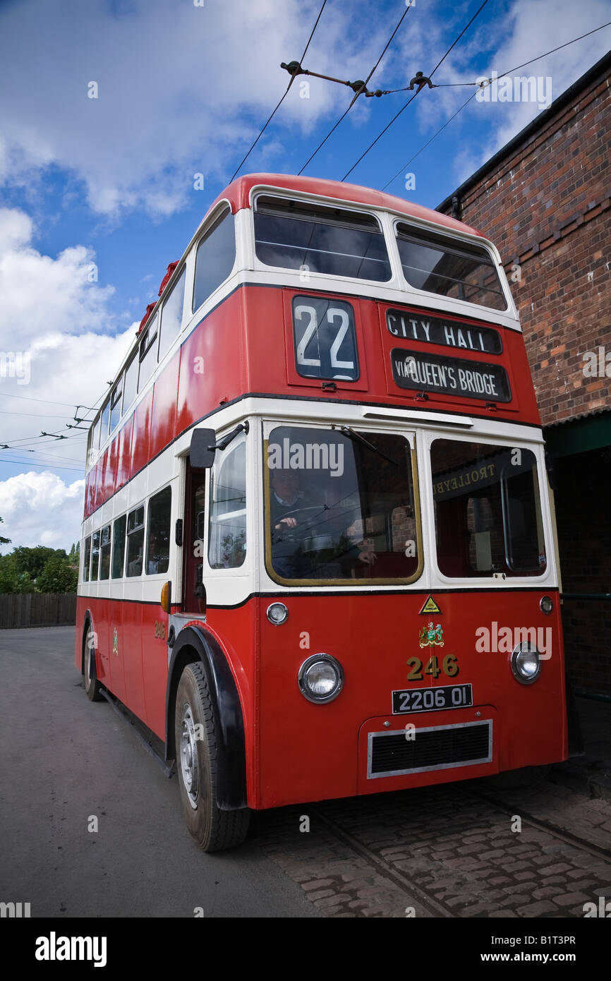 Trolleybus at the Black Country Living Museum, Dudley, West Midlands - Stock Image
