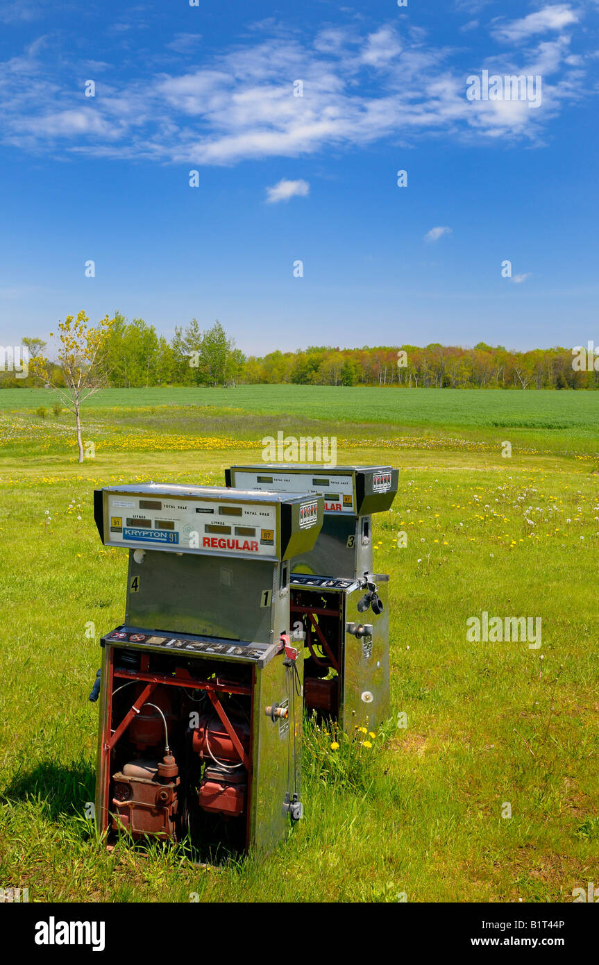 Abandoned dismantled gas pumps standing in a country field Bruce Peninsula Ontario Canada - Stock Image