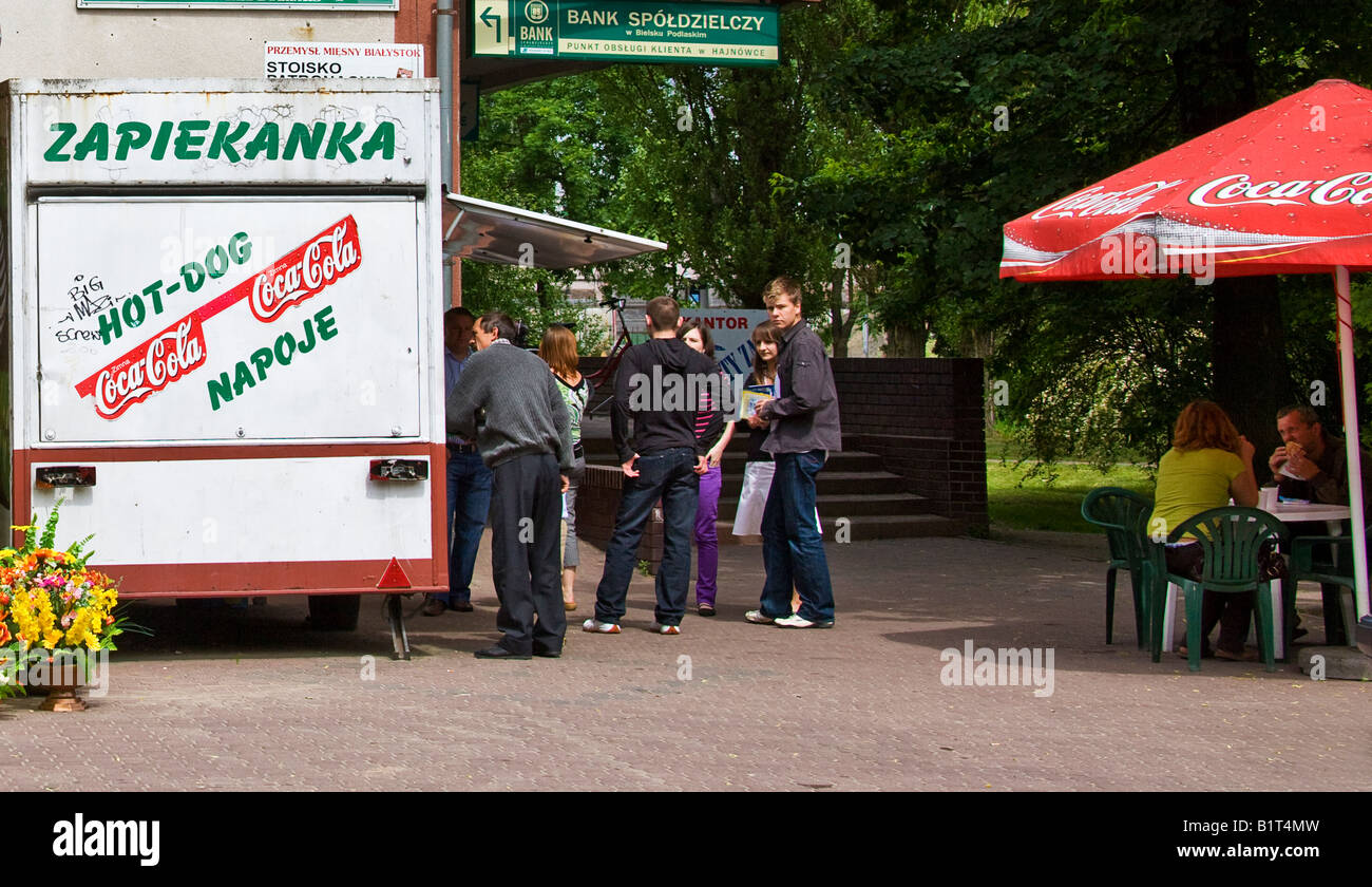 People queueing at a Hot dog stall in Poland - Stock Image