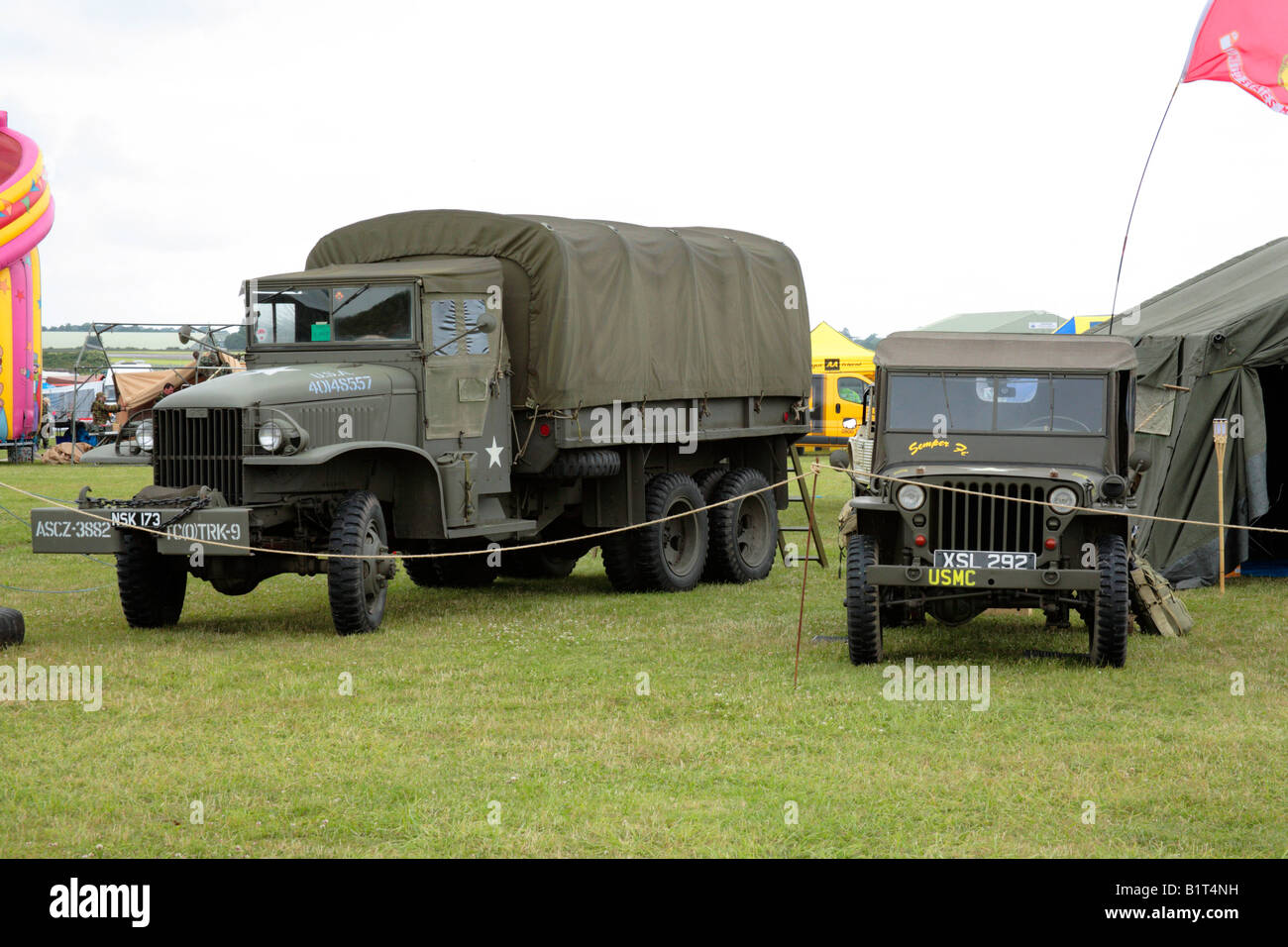 WWII GMC CCKW 353 Cargo 6x6 truck and jeep Stock Photo