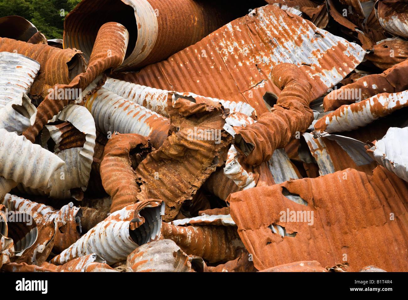 Salvaged 'galvanized'  culverts. Stock Photo