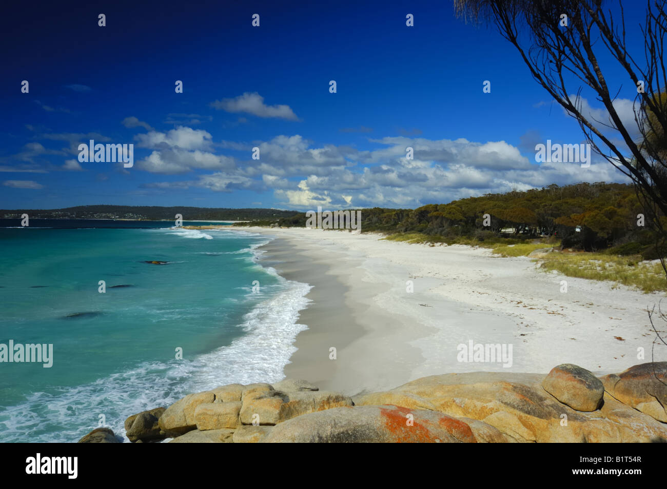 Beach on Bay of Fires, Tasmania - Stock Image