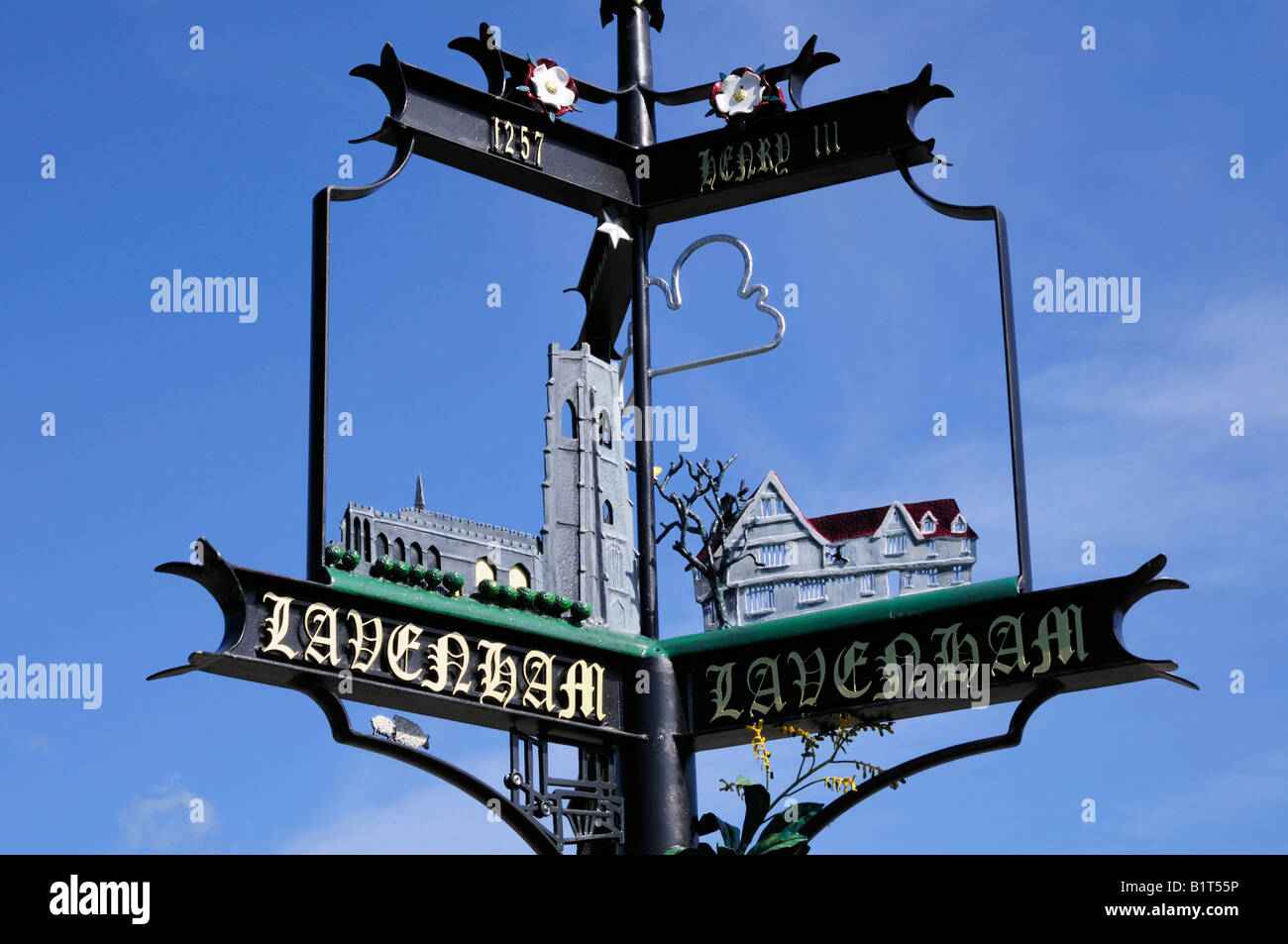Lavenham Village Sign, Suffolk England UK - Stock Image