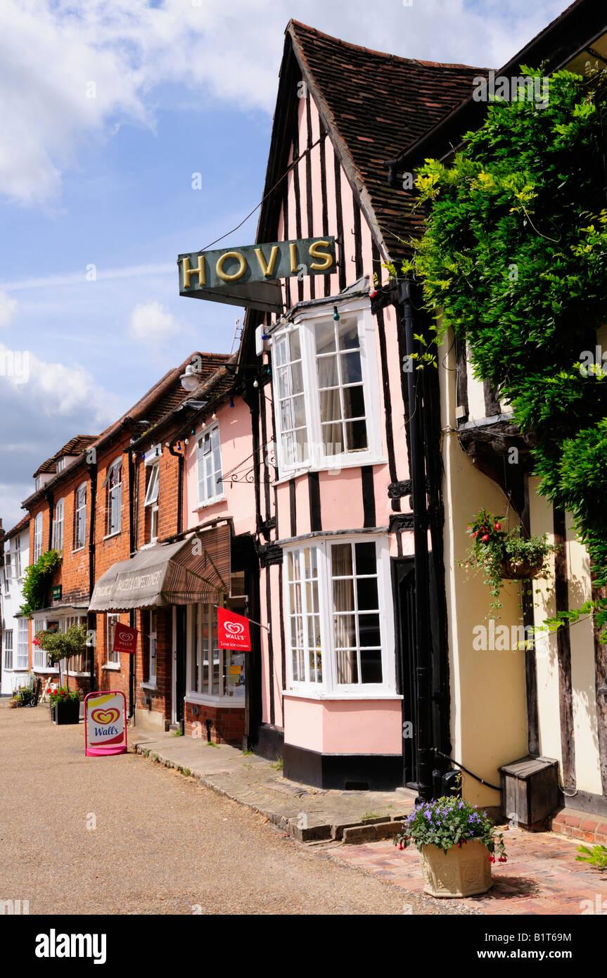 Shops on the Market Square Lavenham Suffolk England UK - Stock Image