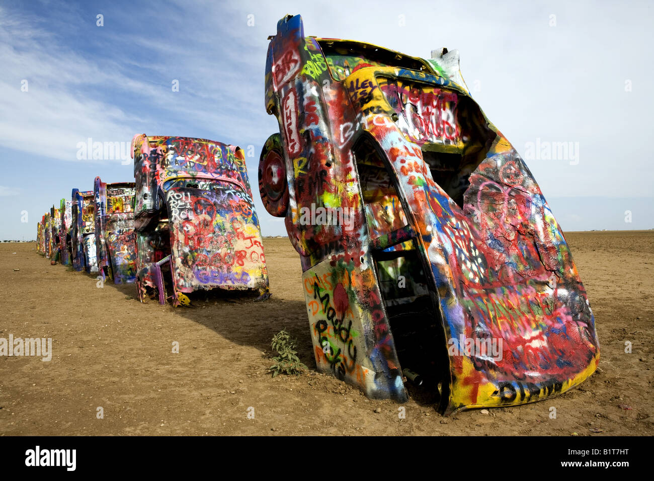 USA Amarillo Texas Cadillac Ranch a public art installation and sculpture was created in 1974 - Stock Image