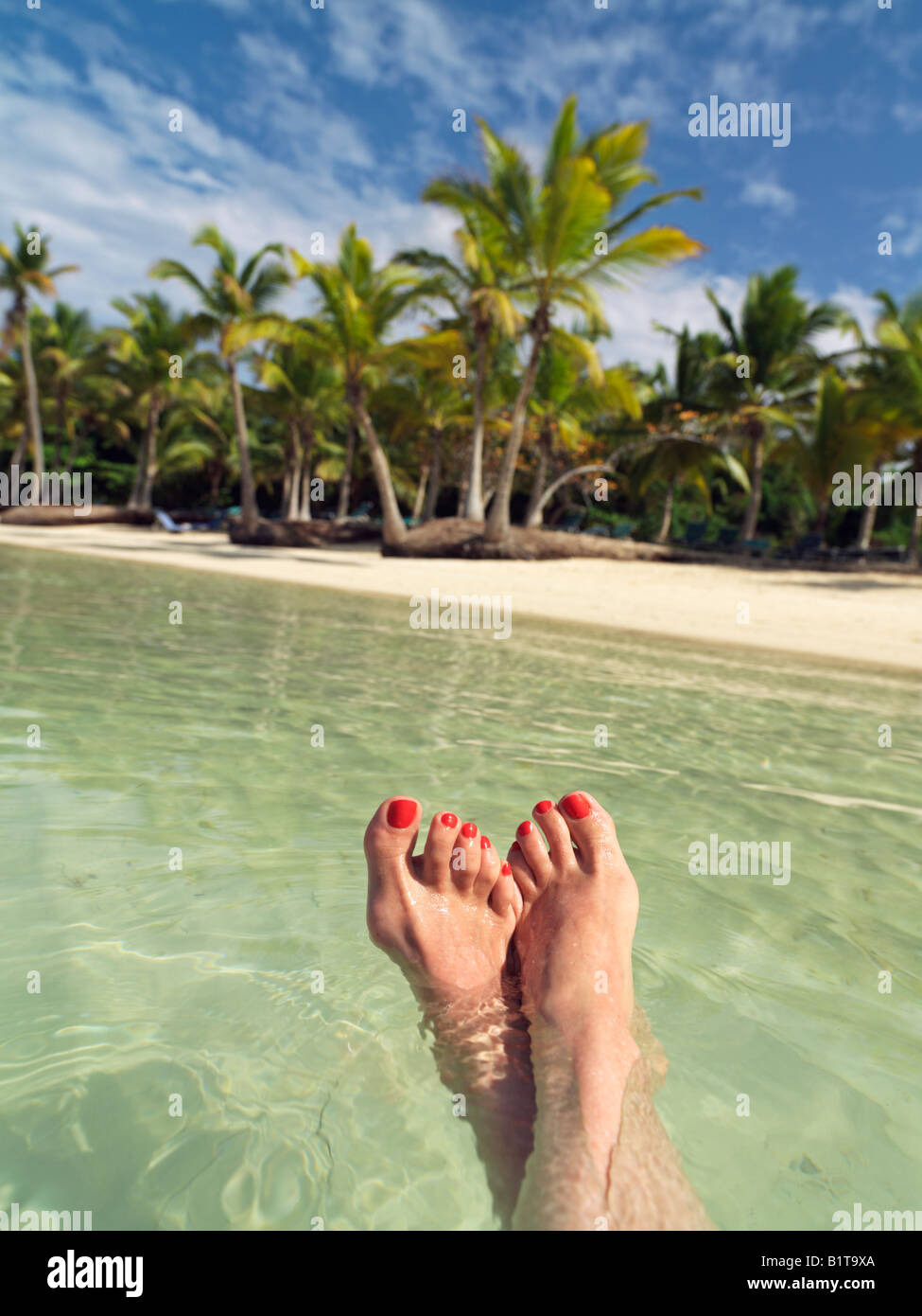 Dominican Republic Punta Cana Bavaro Beach woman s feet floating in water against a palm fringed beach Stock Photo