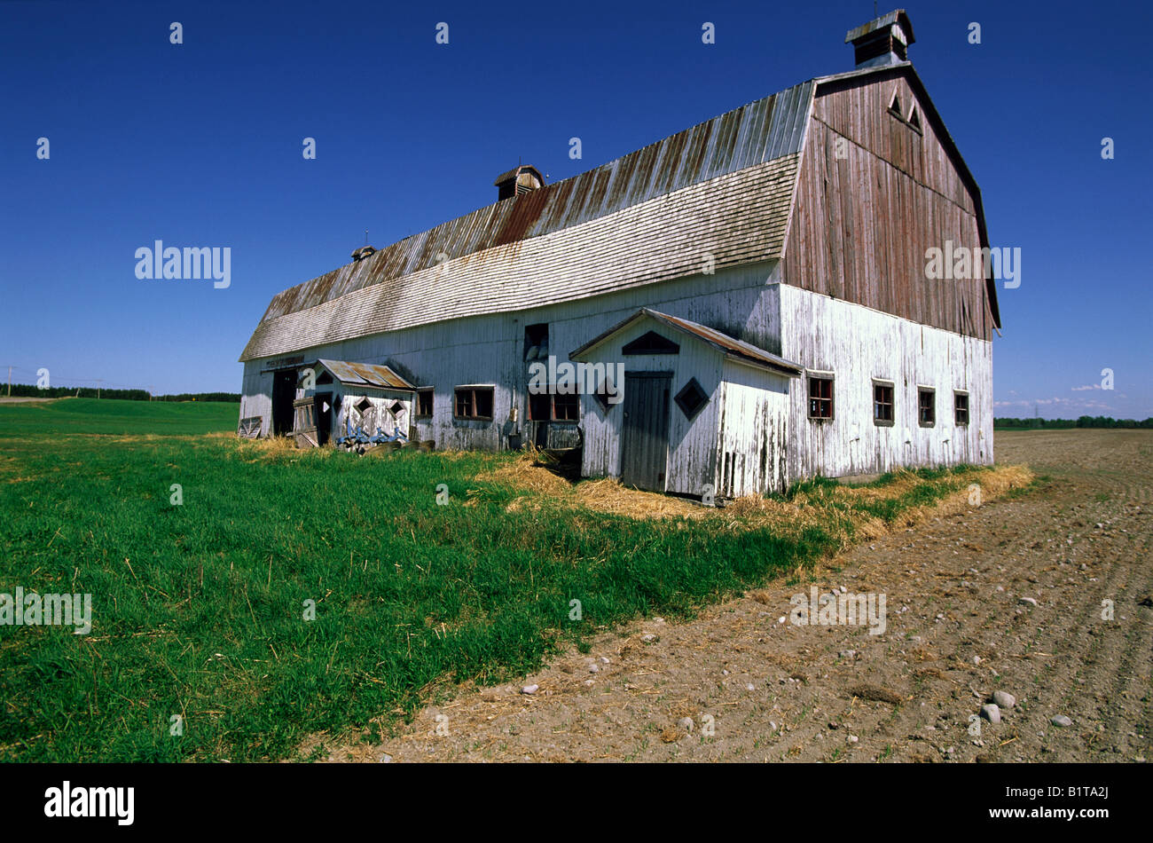 Large wooden barn in disrepair, southcentral Quebec, Canada - Stock Image