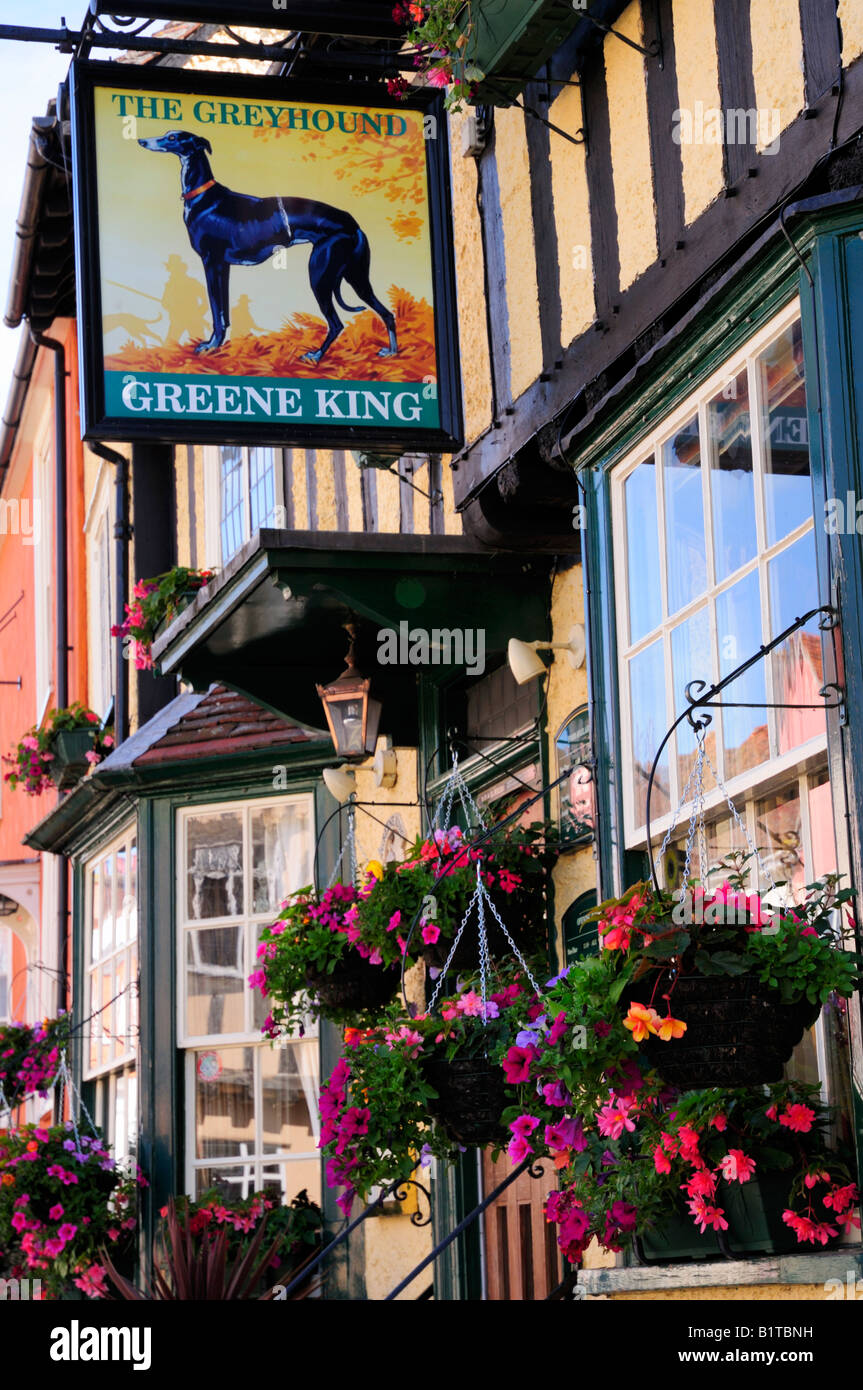 The Greyhound Public House, Lavenham, Suffolk England UK - Stock Image