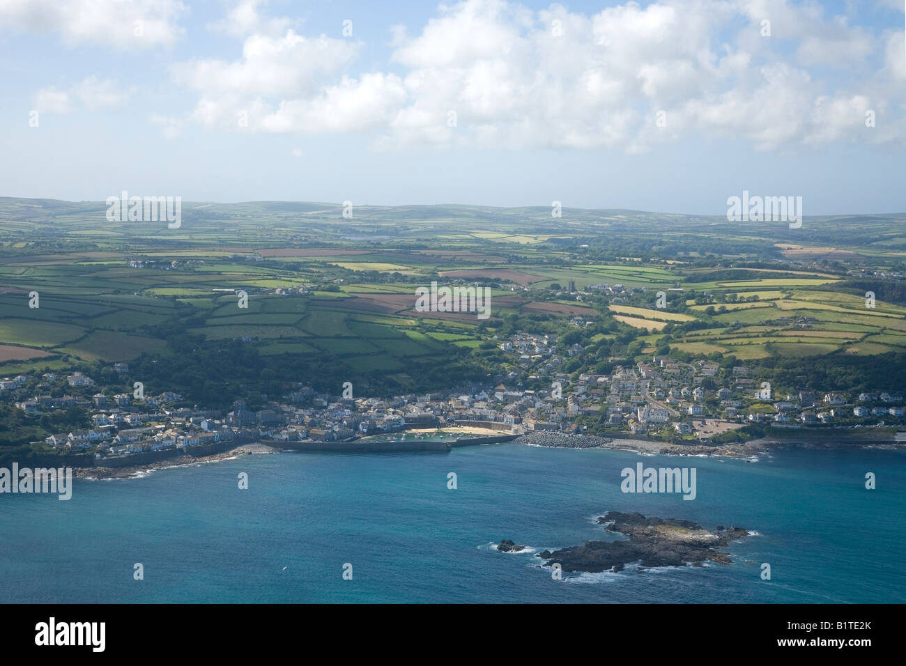 Mousehole aerial view West Penwith Cornwall England GB Great Britain UK United Kingdom British Isles Europe EU - Stock Image