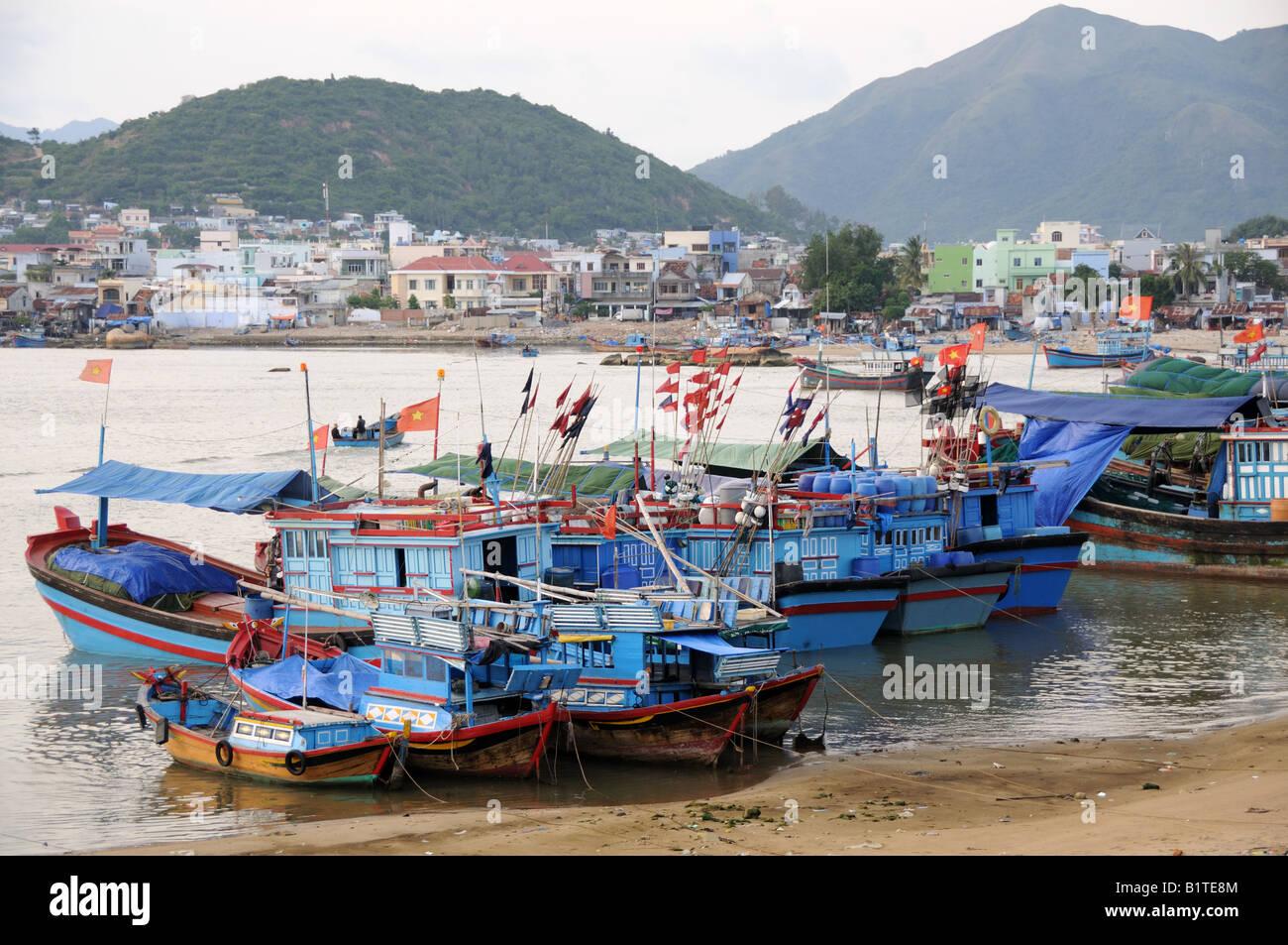 Traditional colourful fishing fleet Nha Trang Vietnam Stock Photo
